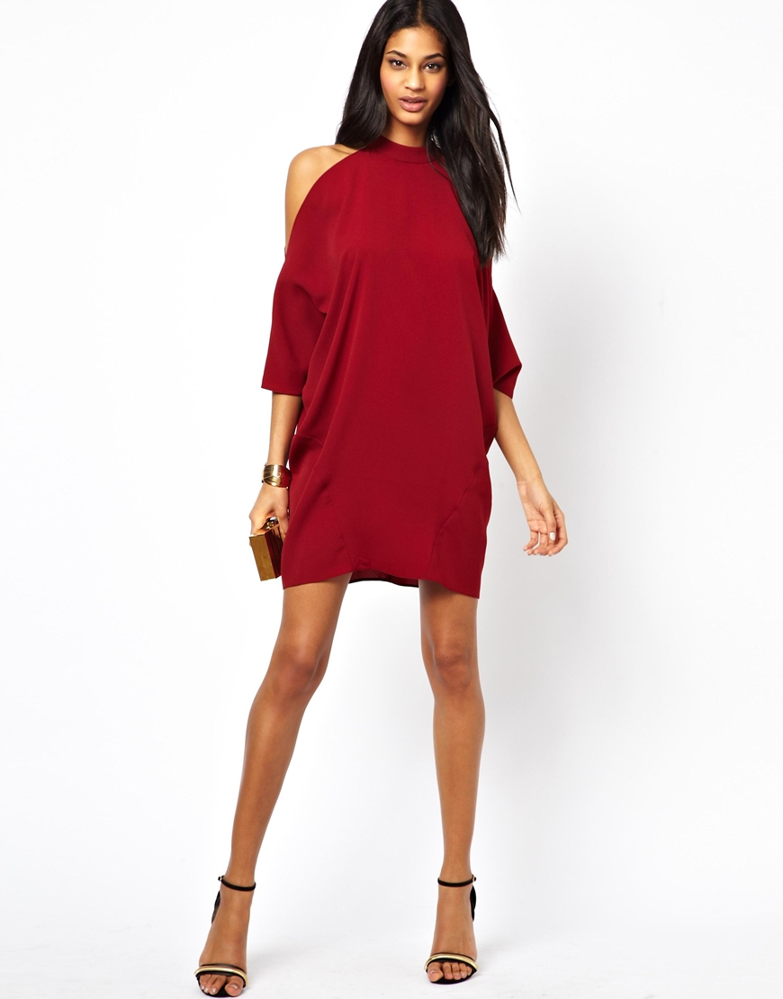 b32427d39a7 Lyst - ASOS Shift Dress with Cold Shoulder and Batwing Sleeve in Red