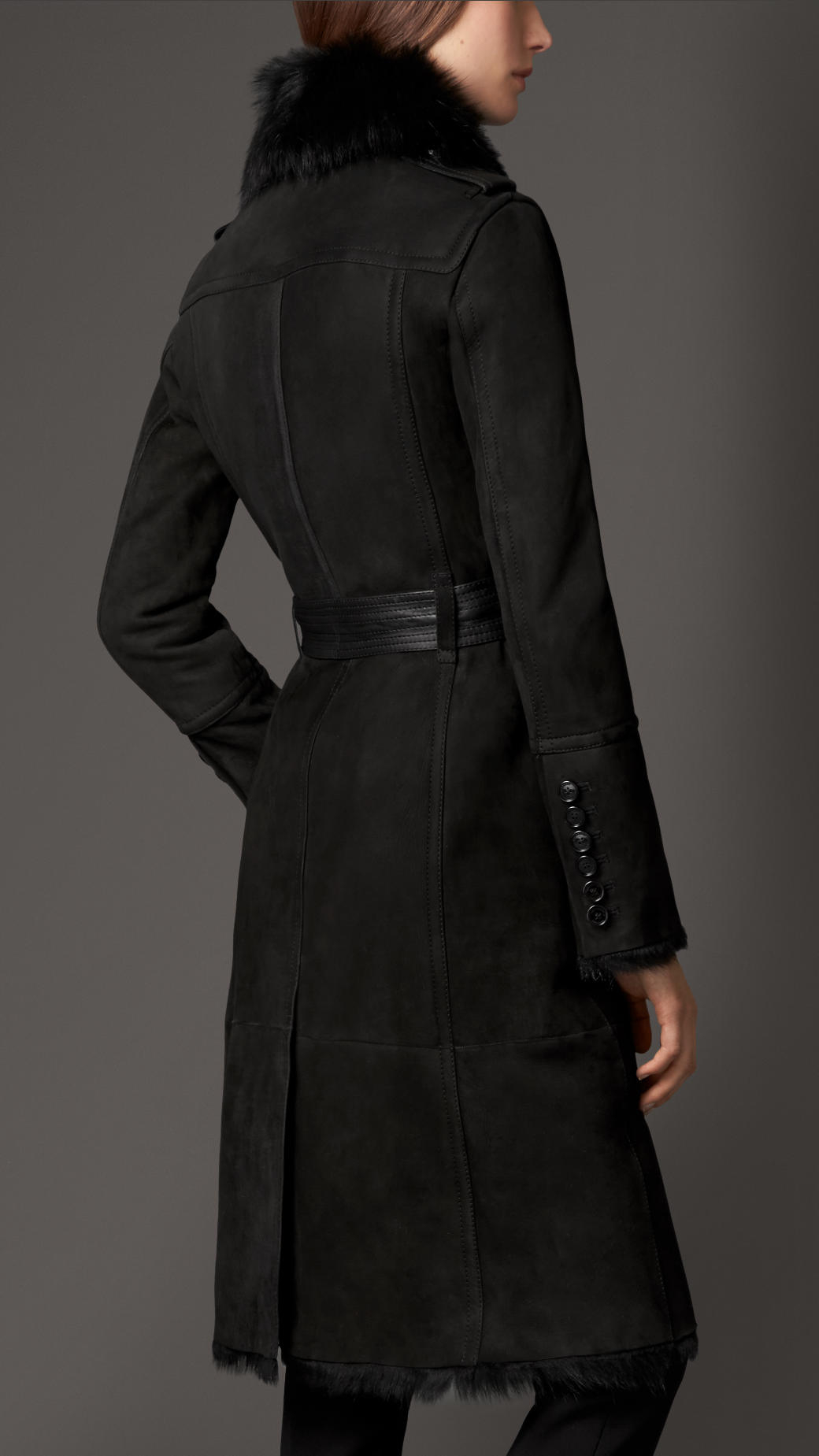 Lyst Burberry Reverse Collar Shearling Coat In Black