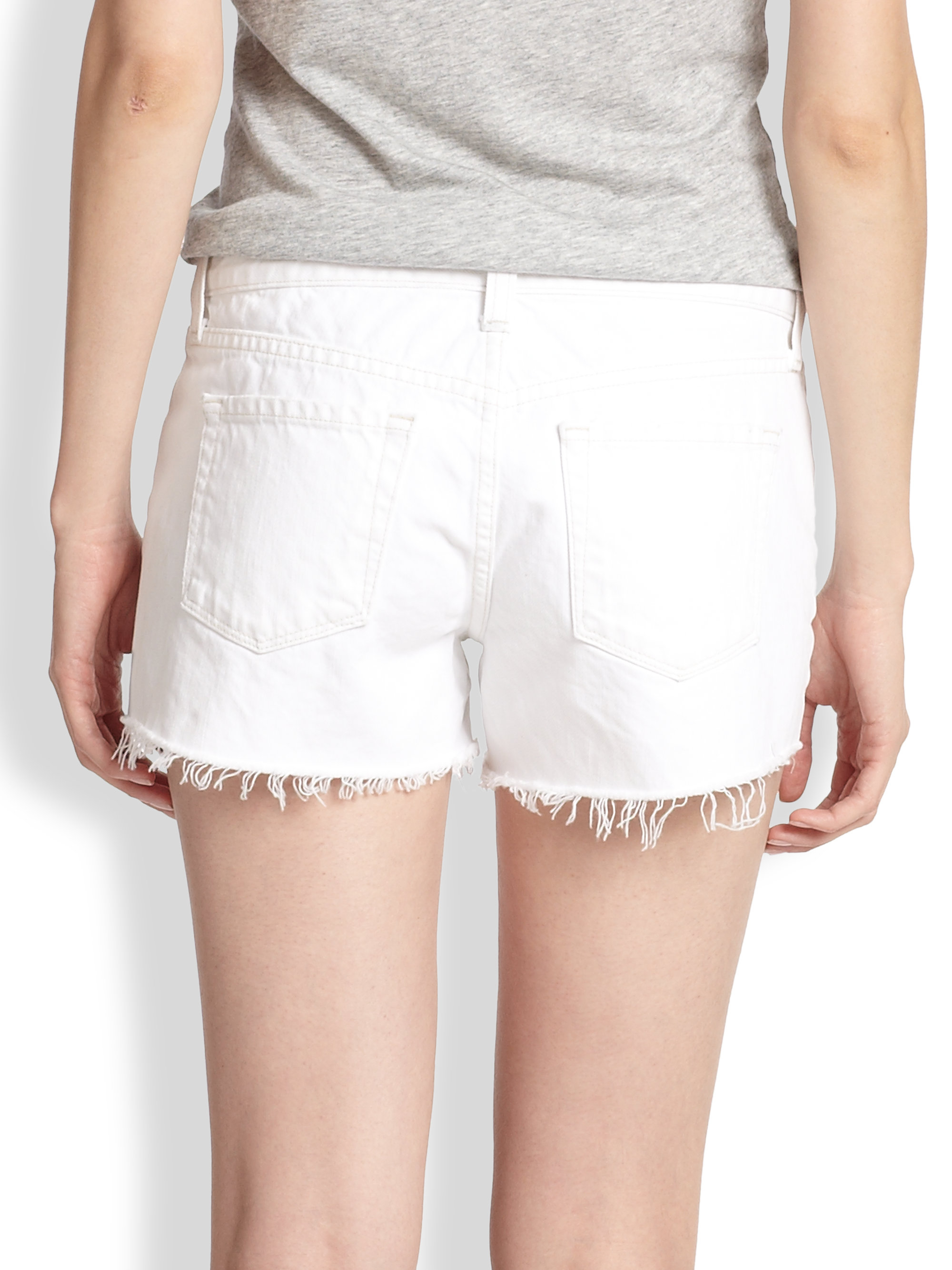White Cut Off Denim Shorts