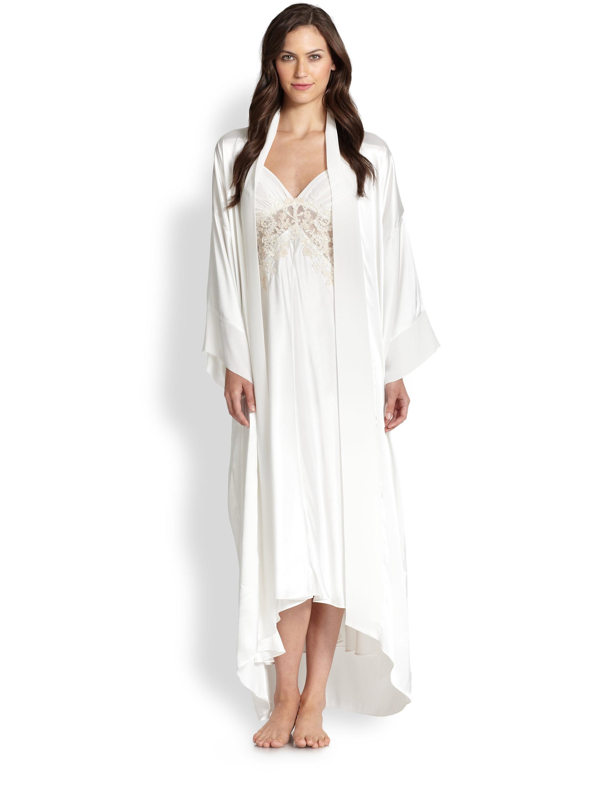 Jonquil Sabrina Satin Robe In White Lyst