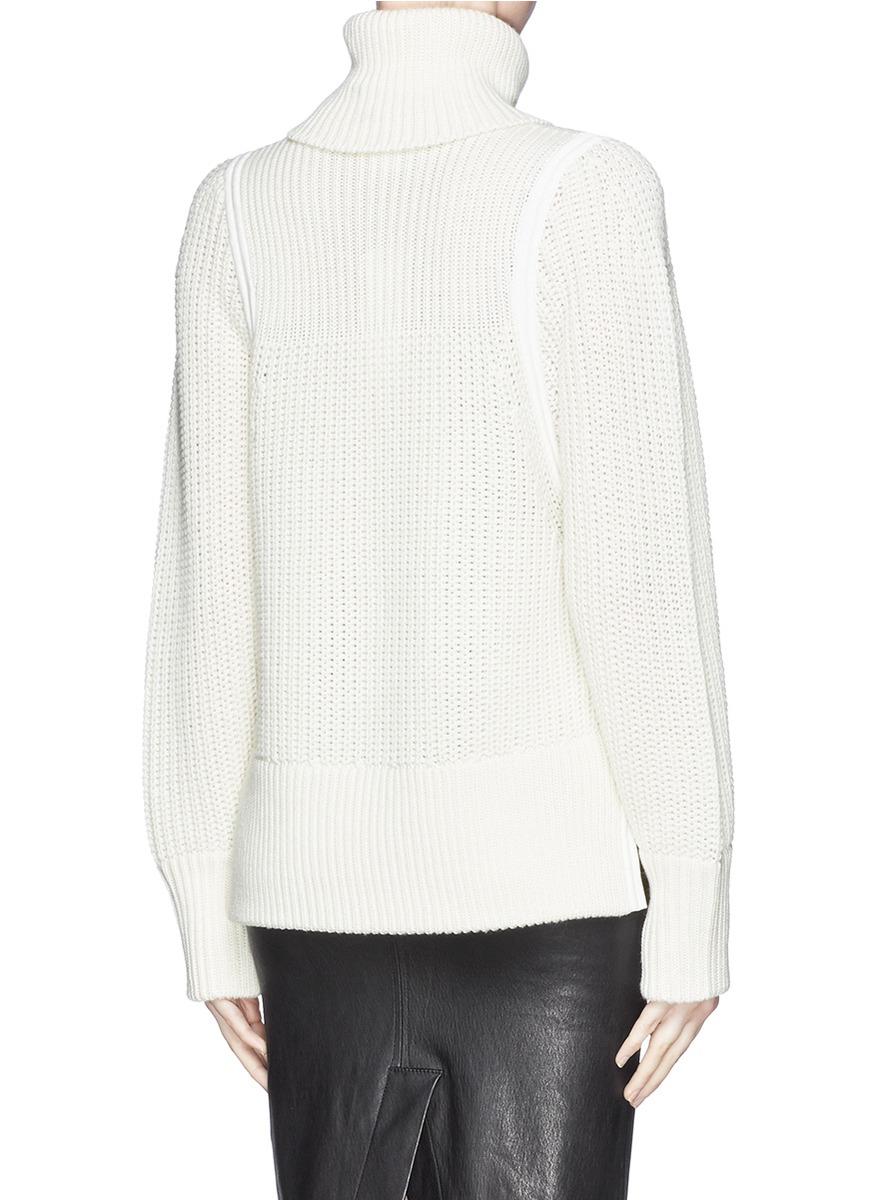 Lyst Helmut Lang Split Side Wool Knit Turtleneck Sweater