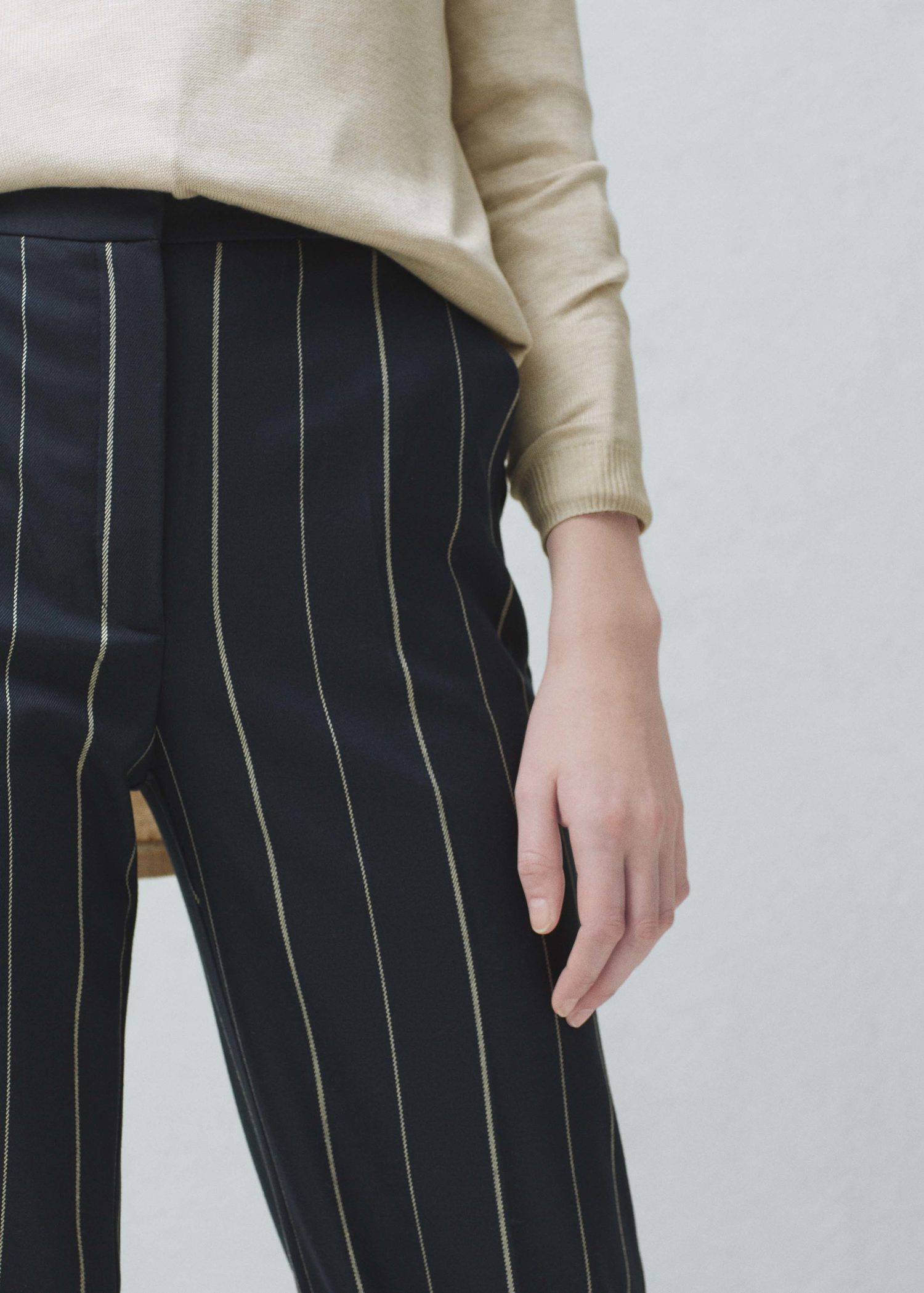 available discount price presenting Mango Straight Striped Trousers in Dark Navy (Blue) - Lyst
