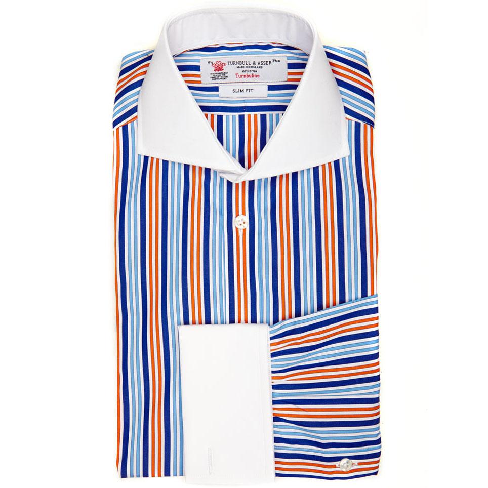 Turnbull Asser Slim Fit Shirt In Blue White And Orange Regimental