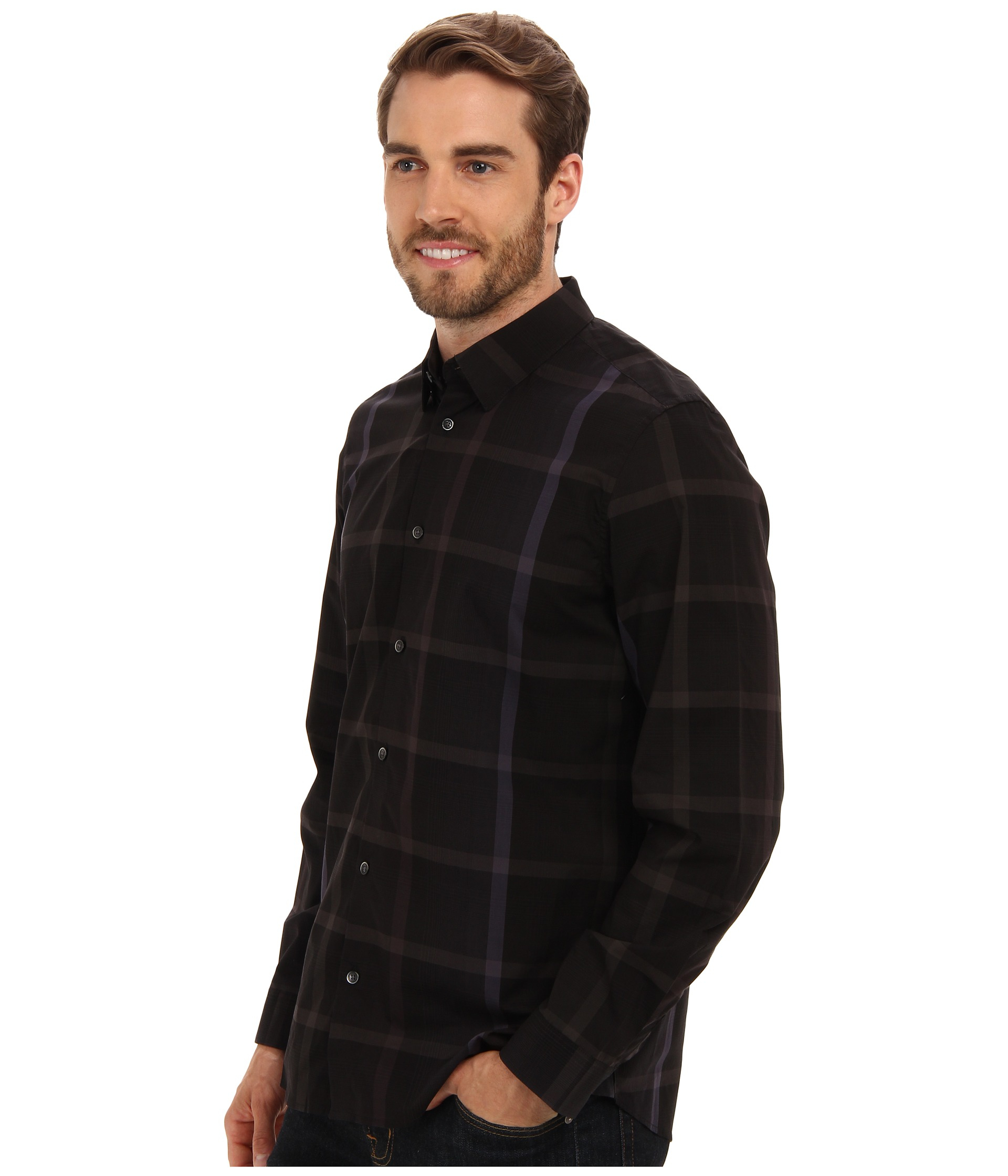 Calvin klein black yd large ombre plaid hidden button for Hidden button down collar shirts