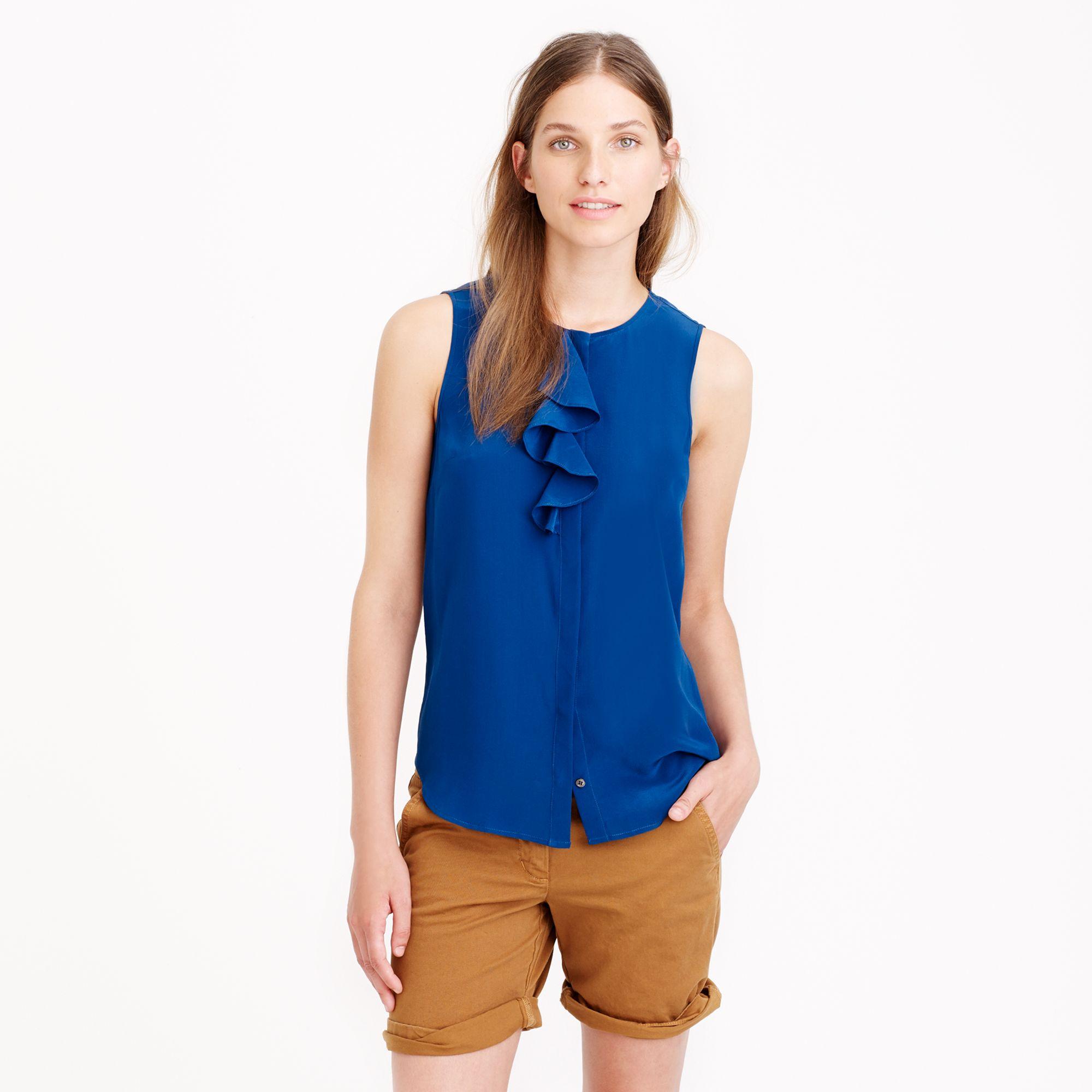 Silk ruffle blouse in blue lyst for Jcrew com