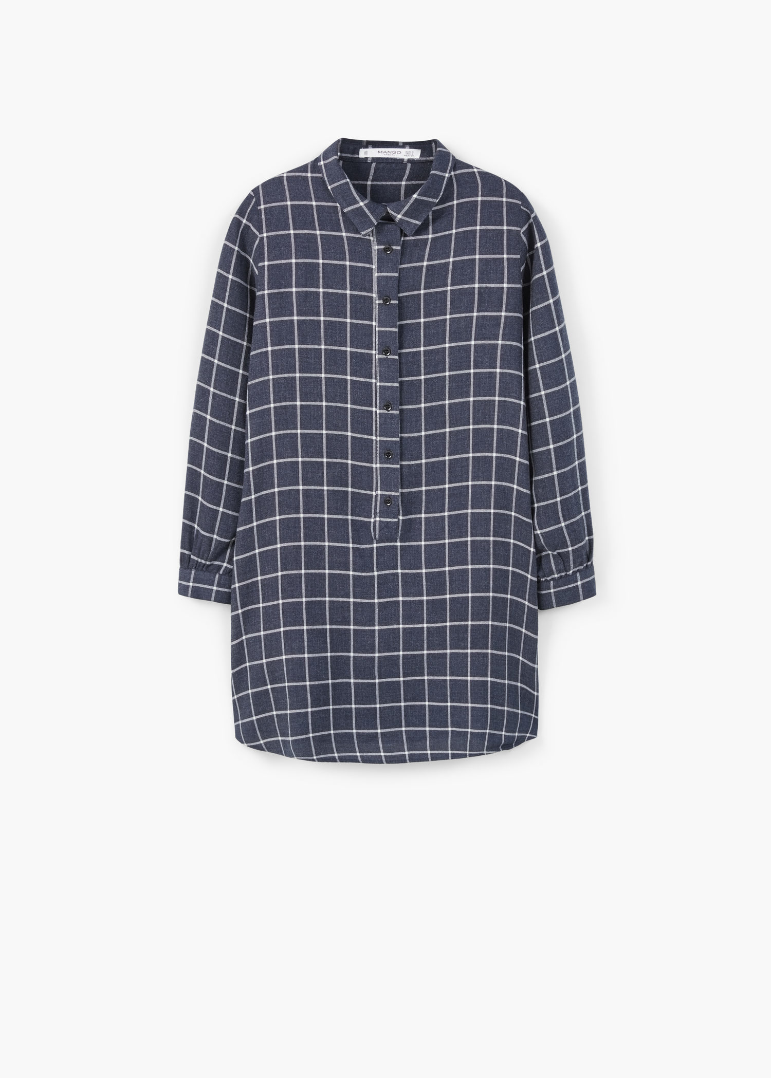 Mango check shirt dress in blue lyst for Blue check dress shirt