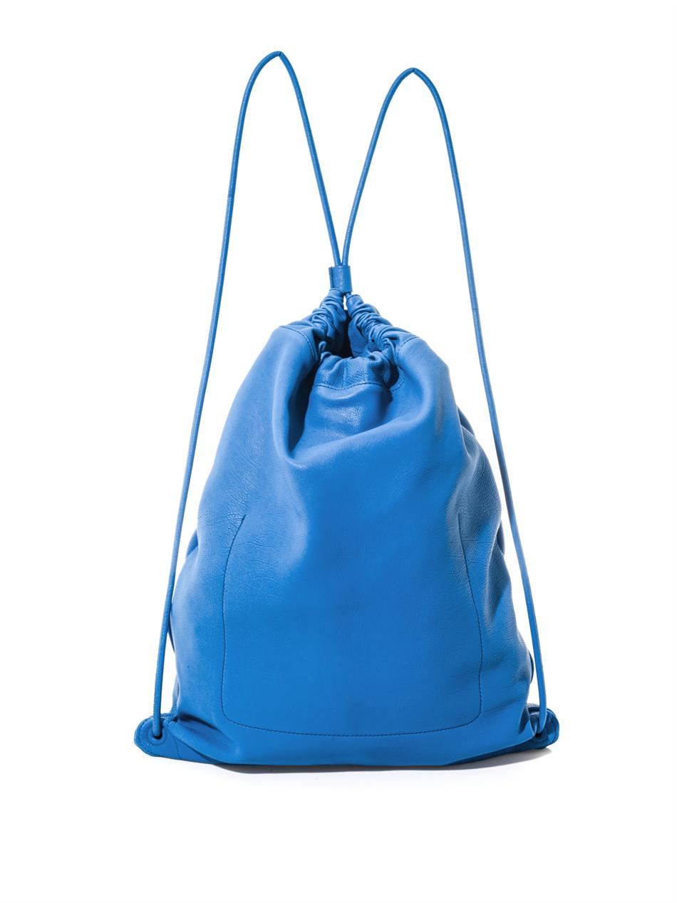 Blue leather drawstring bag
