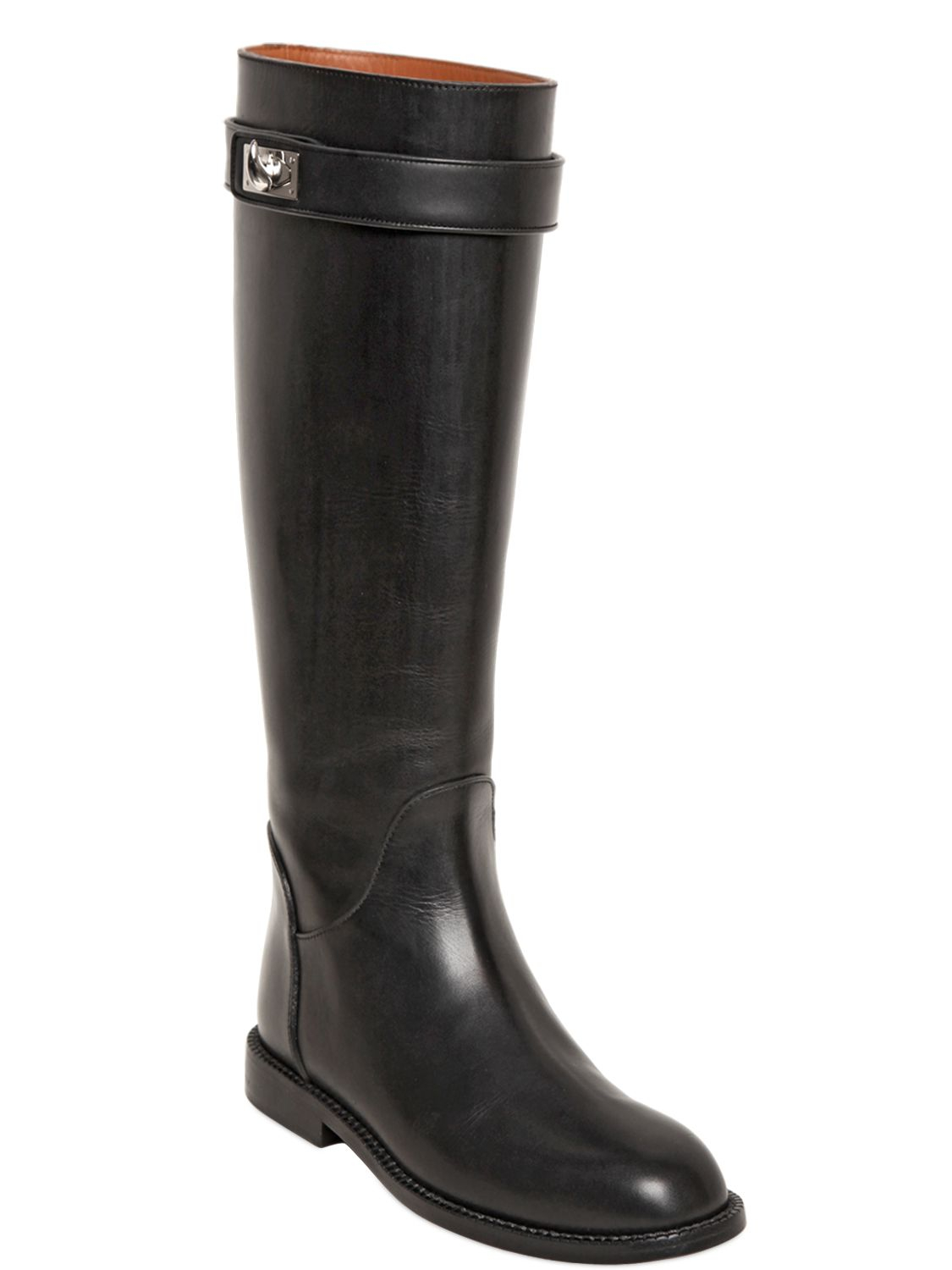 givenchy 20mm shark lock leather boots in black lyst