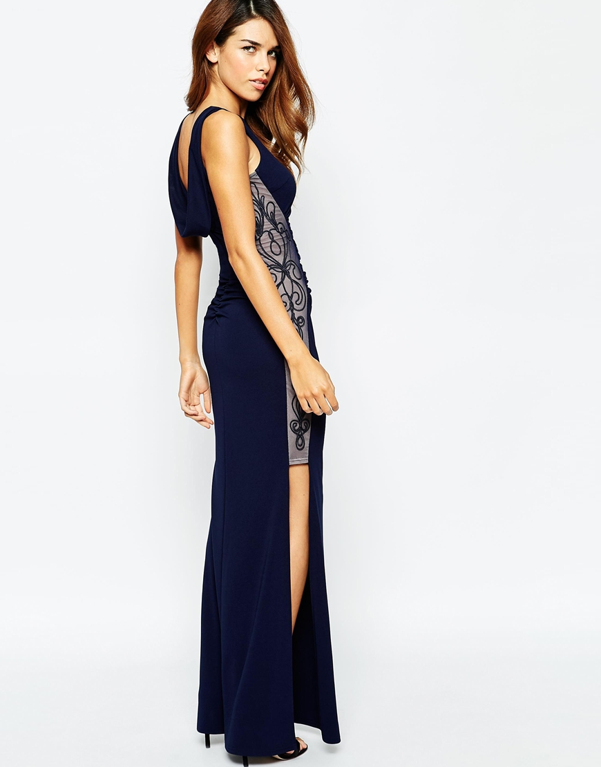 e1e4b5b2d07e0 Lyst - Lipsy Michelle Keegan Loves Maxi Dress With Ruched Embroidered Sides  in Blue