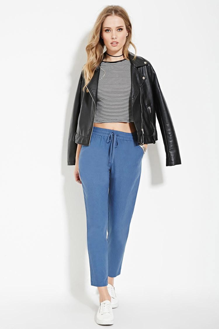 Forever 21 Linen-blend Drawstring Pants in Blue | Lyst