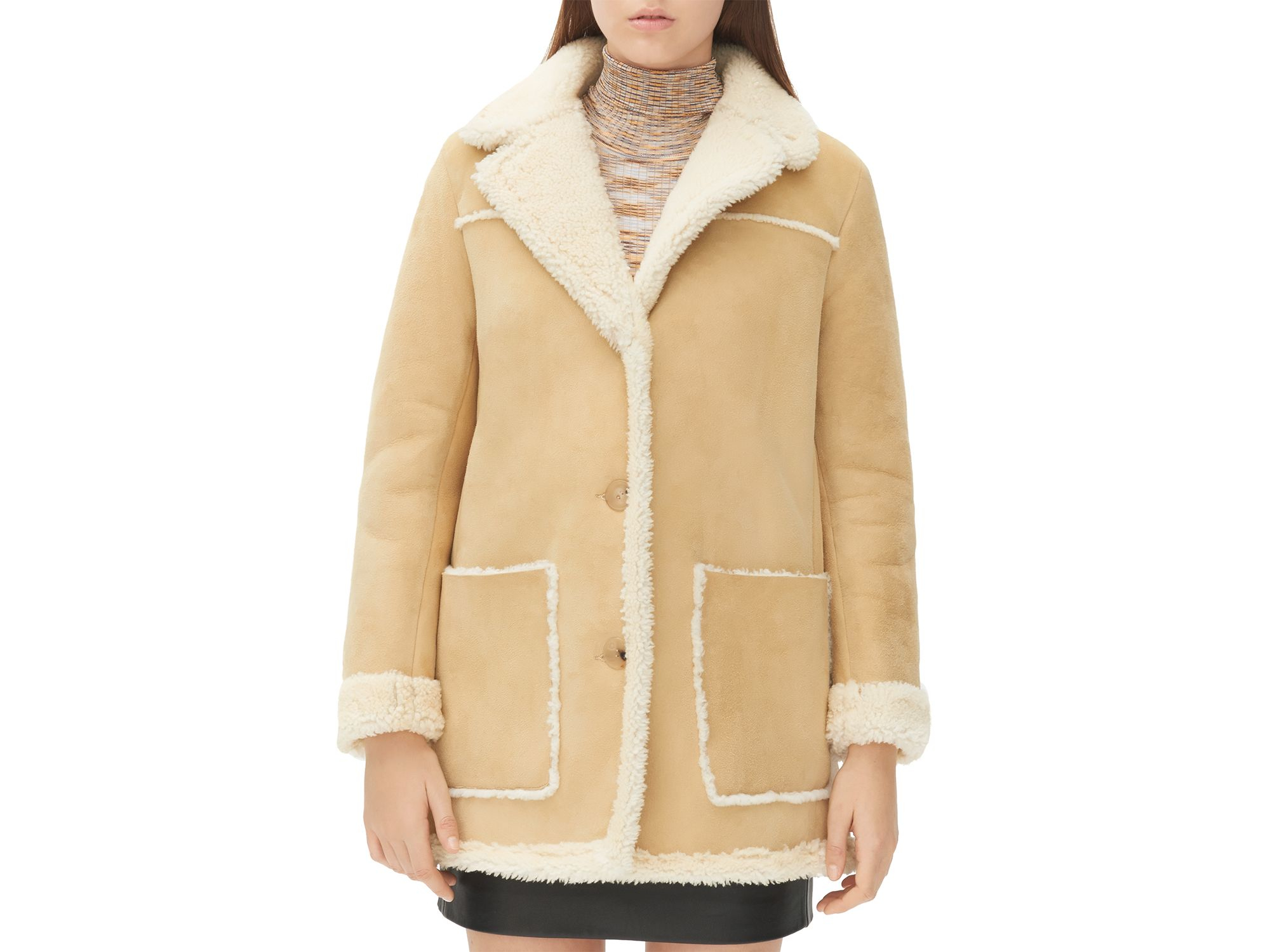Sandro Meora Shearling Coat in Natural | Lyst