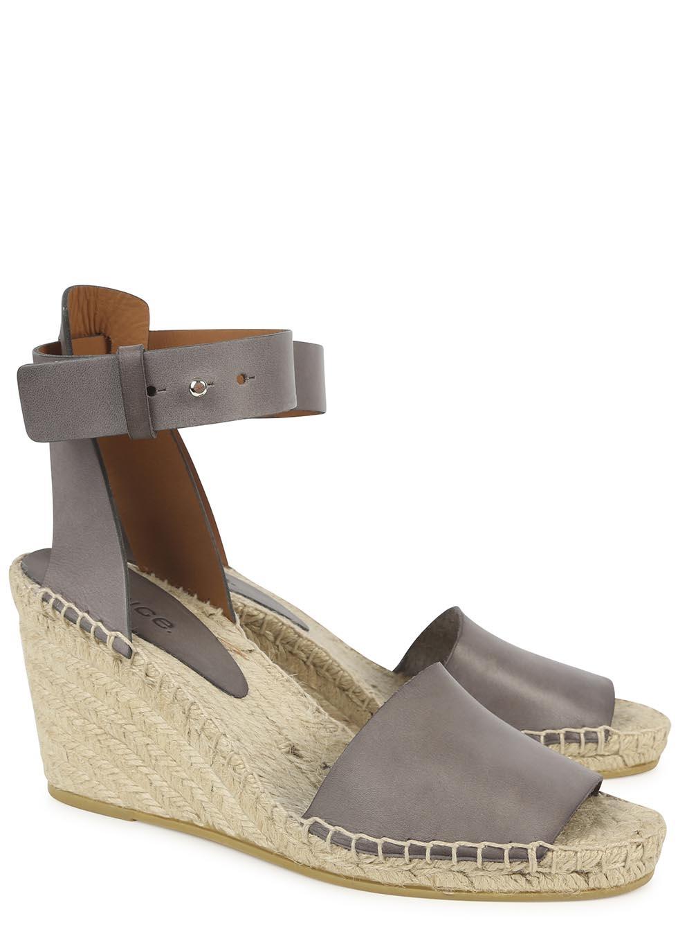 Vince Simona Grey Espadrille Wedge Sandals In Gray Grey
