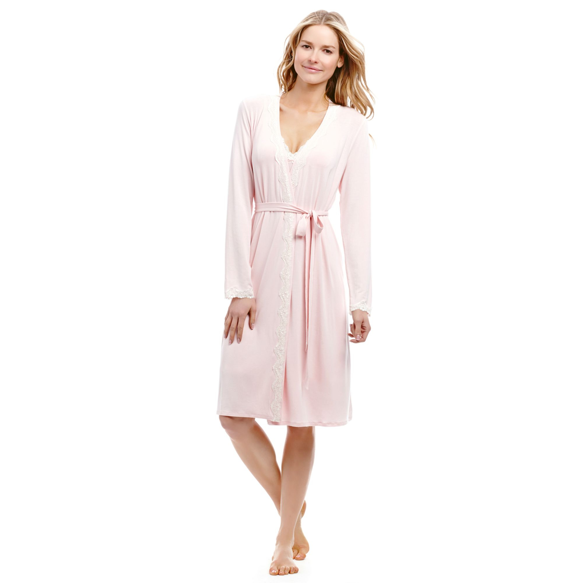 Jessica simpson maternity lacetrim nursing robe in pink lyst gallery ombrellifo Gallery