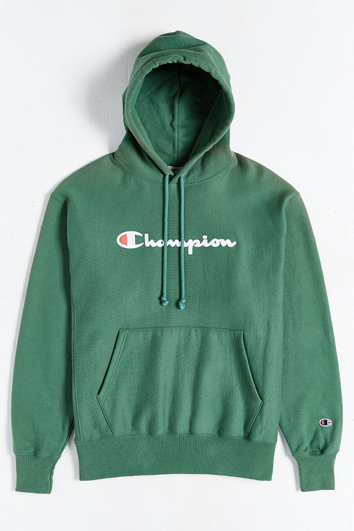 Champion Script Reverse Weave Hoodie Sweatshirt in Green for Men ...
