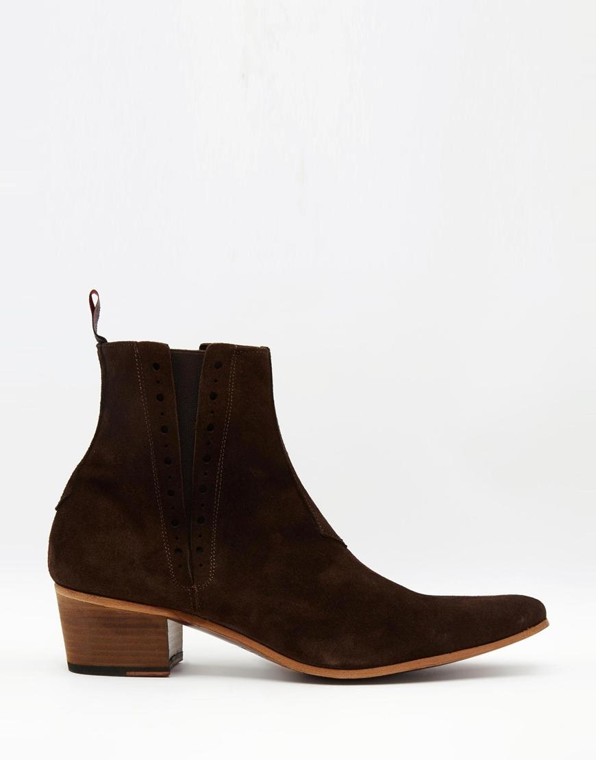 jeffery west suede chelsea boots in brown lyst