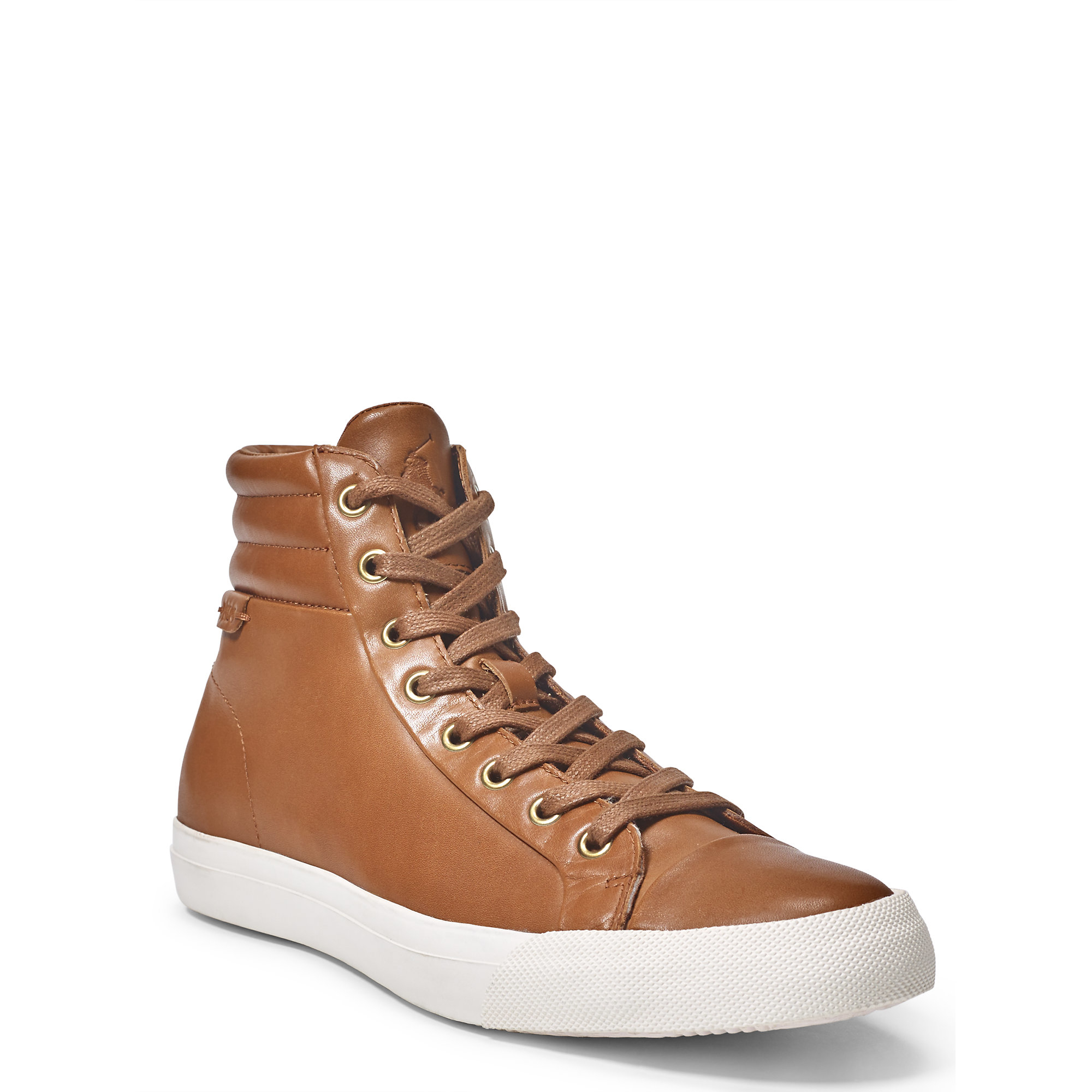 lyst polo ralph lauren geffron leather sneaker in brown for men. Black Bedroom Furniture Sets. Home Design Ideas