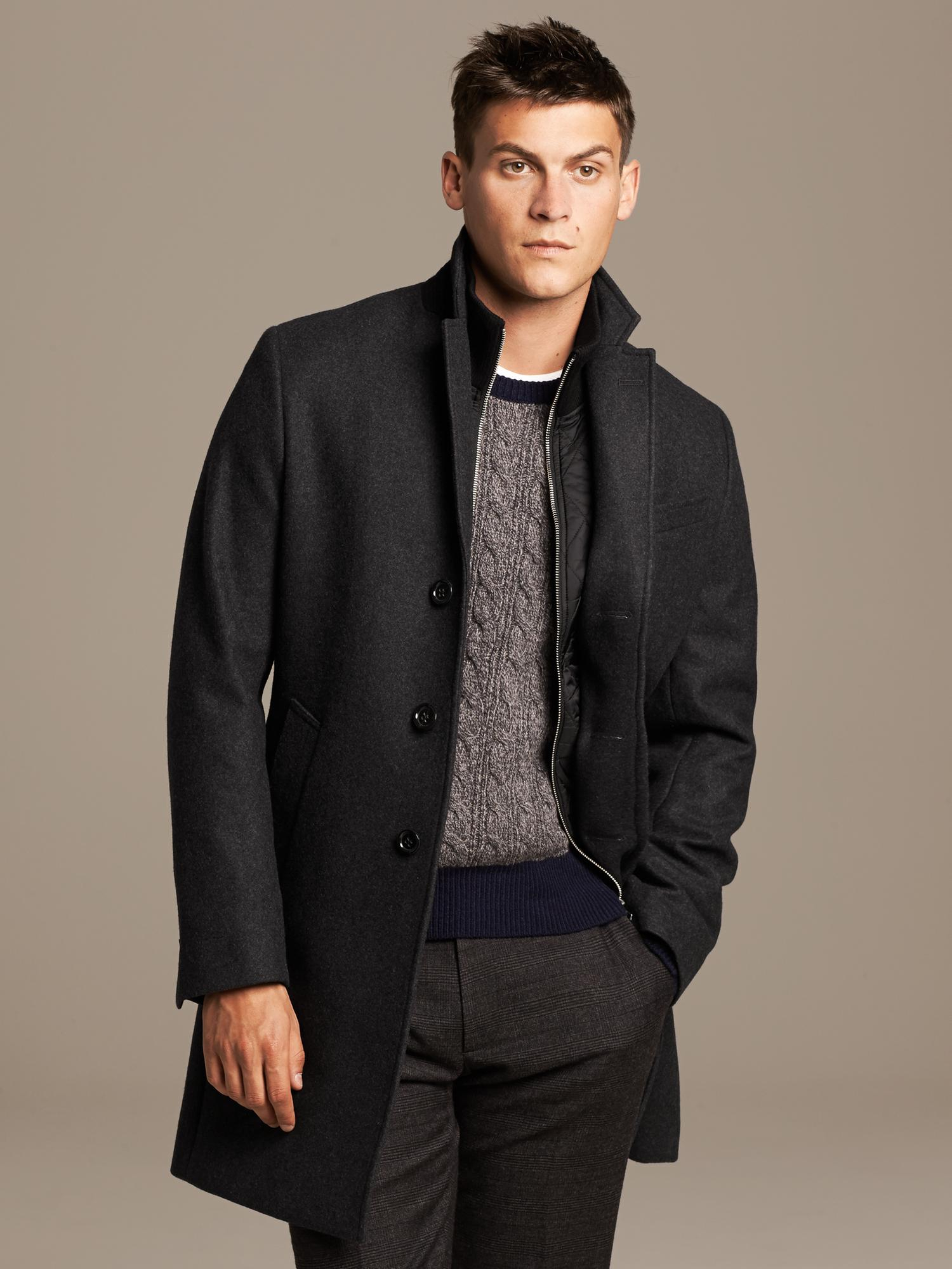banana republic layered topcoat in gray for men charcoal lyst. Black Bedroom Furniture Sets. Home Design Ideas