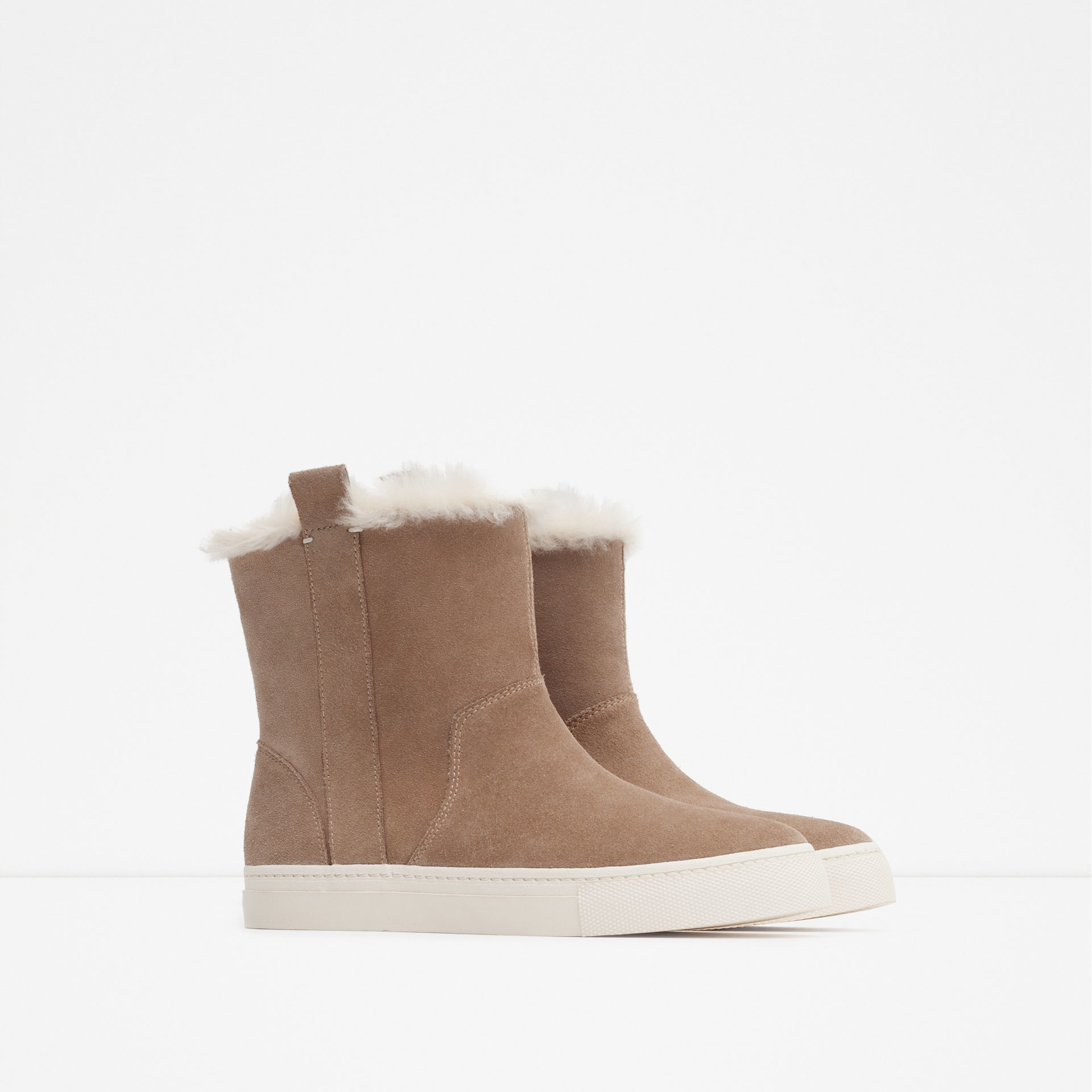 zara flat leather ankle boots in brown lyst