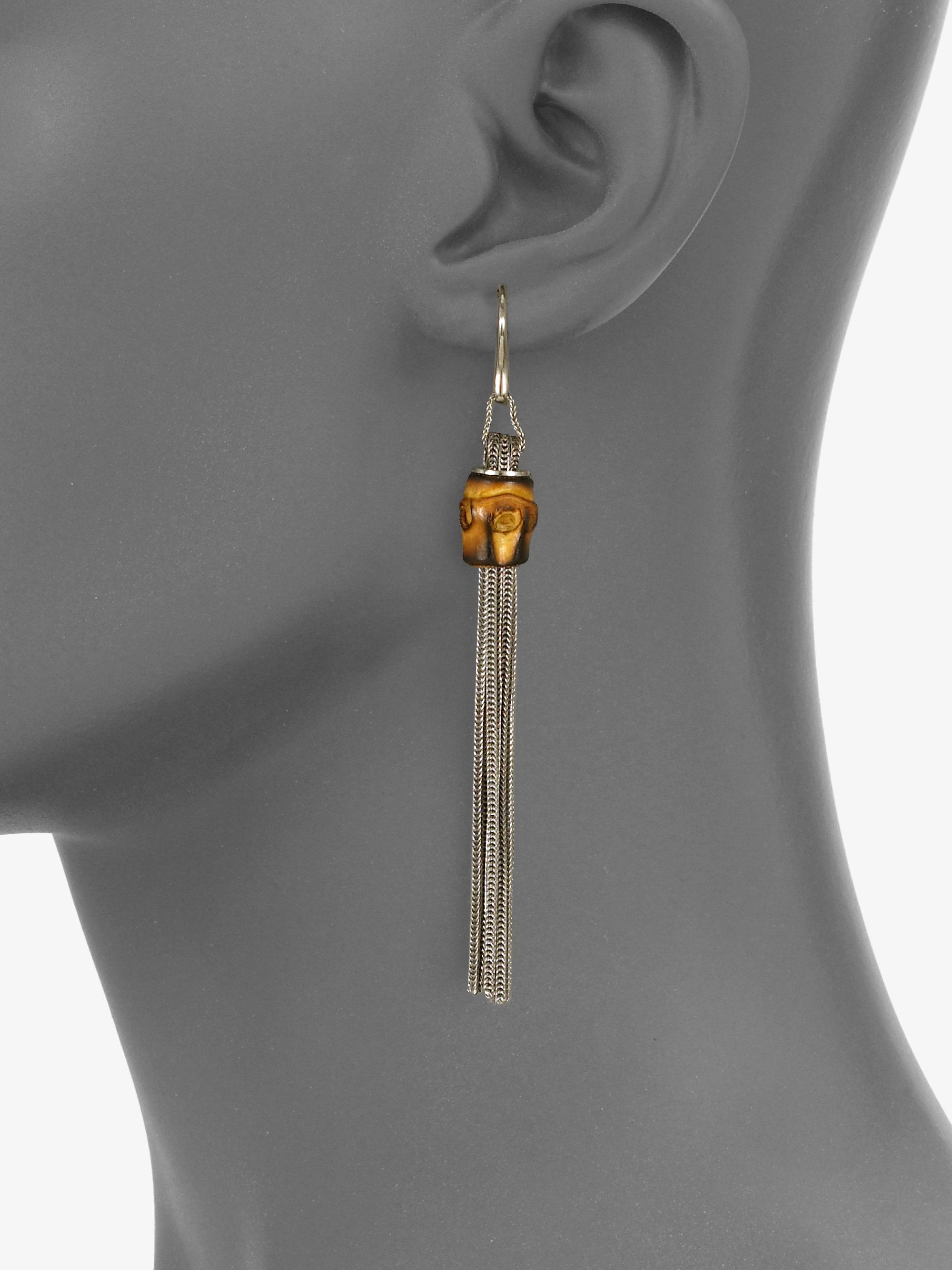 322996d6faf Gucci Bamboo Sterling Silver Foxtail Tassel Earrings in Metallic - Lyst