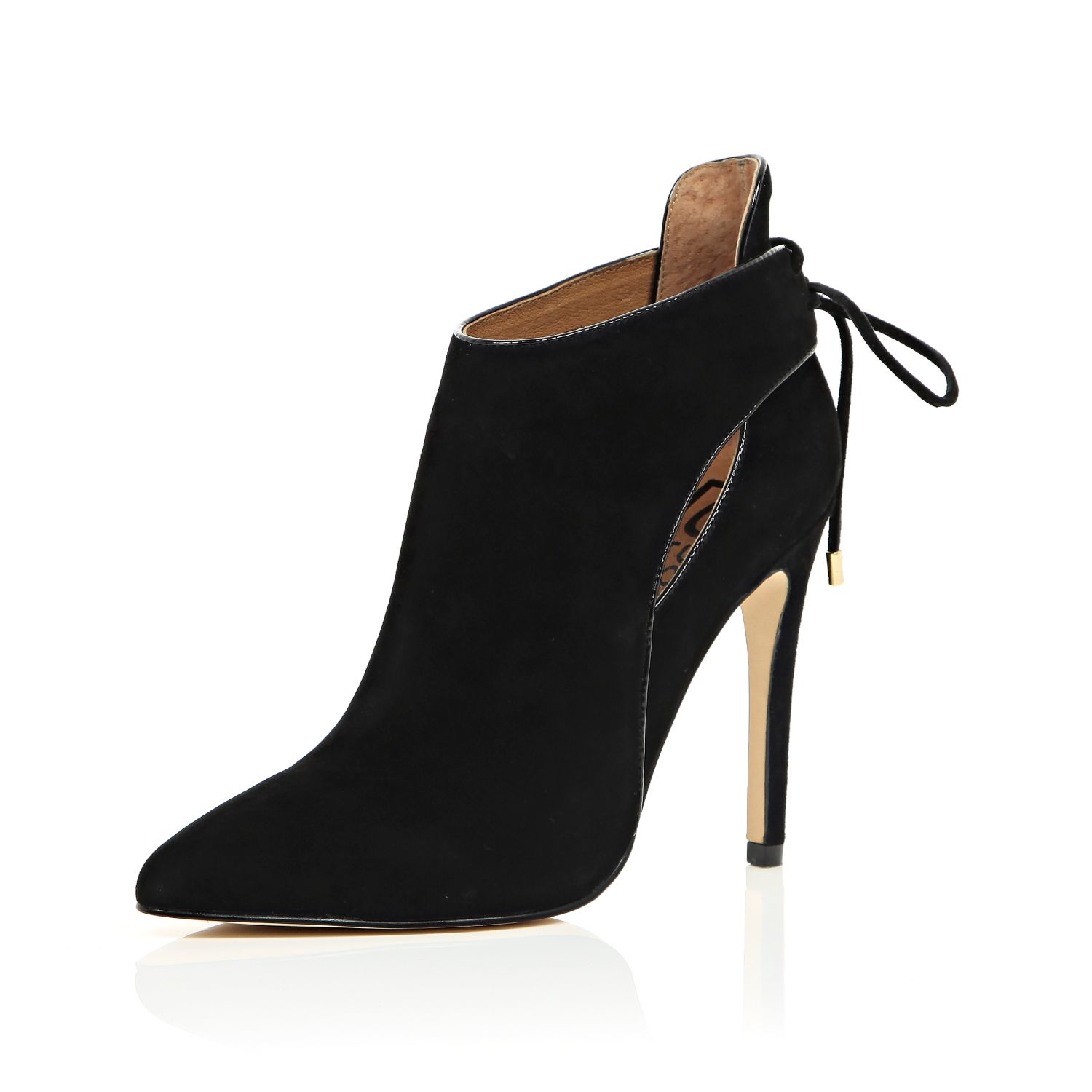 River island Black Ri Studio Suede Tie Back Ankle Boots in Black