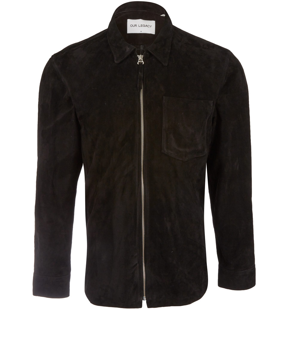 a44be57eb1ec Lyst - Our Legacy Black Zip Suede Shirt in Black for Men