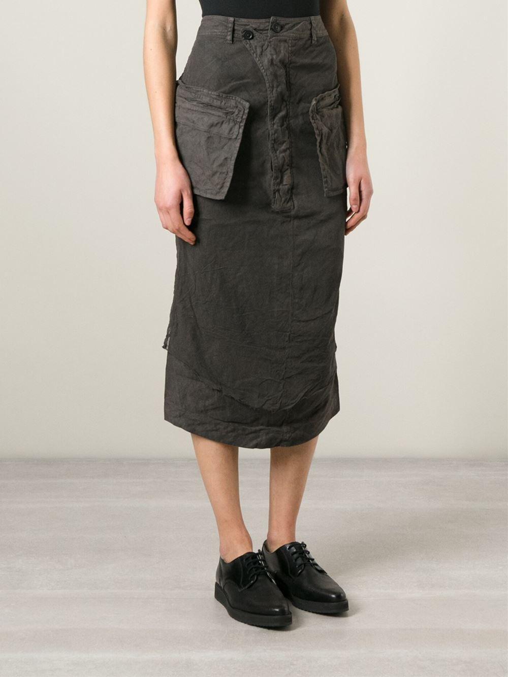 rundholz midi cargo pencil skirt in gray grey lyst