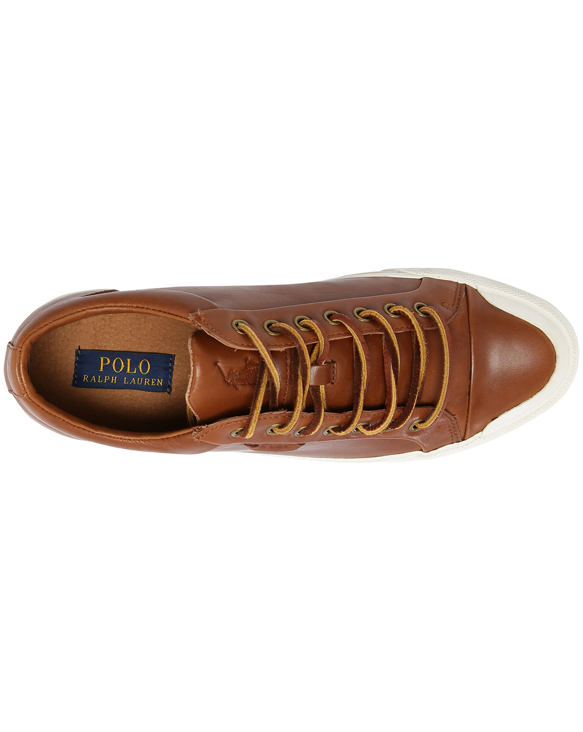 Polo ralph lauren Geffrey Brown Leather Sneakers in Brown for Men | Lyst