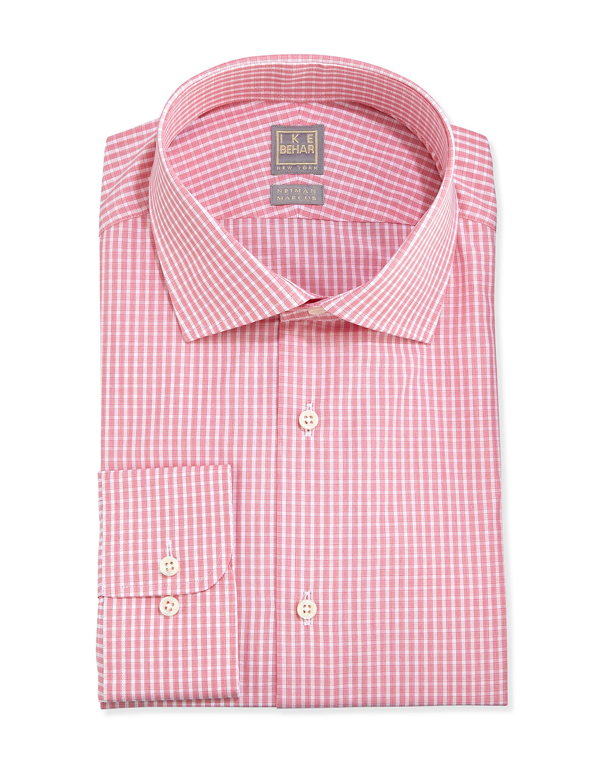 Lyst Ike Behar Woven Check Dress Shirt Coral In Pink For Men