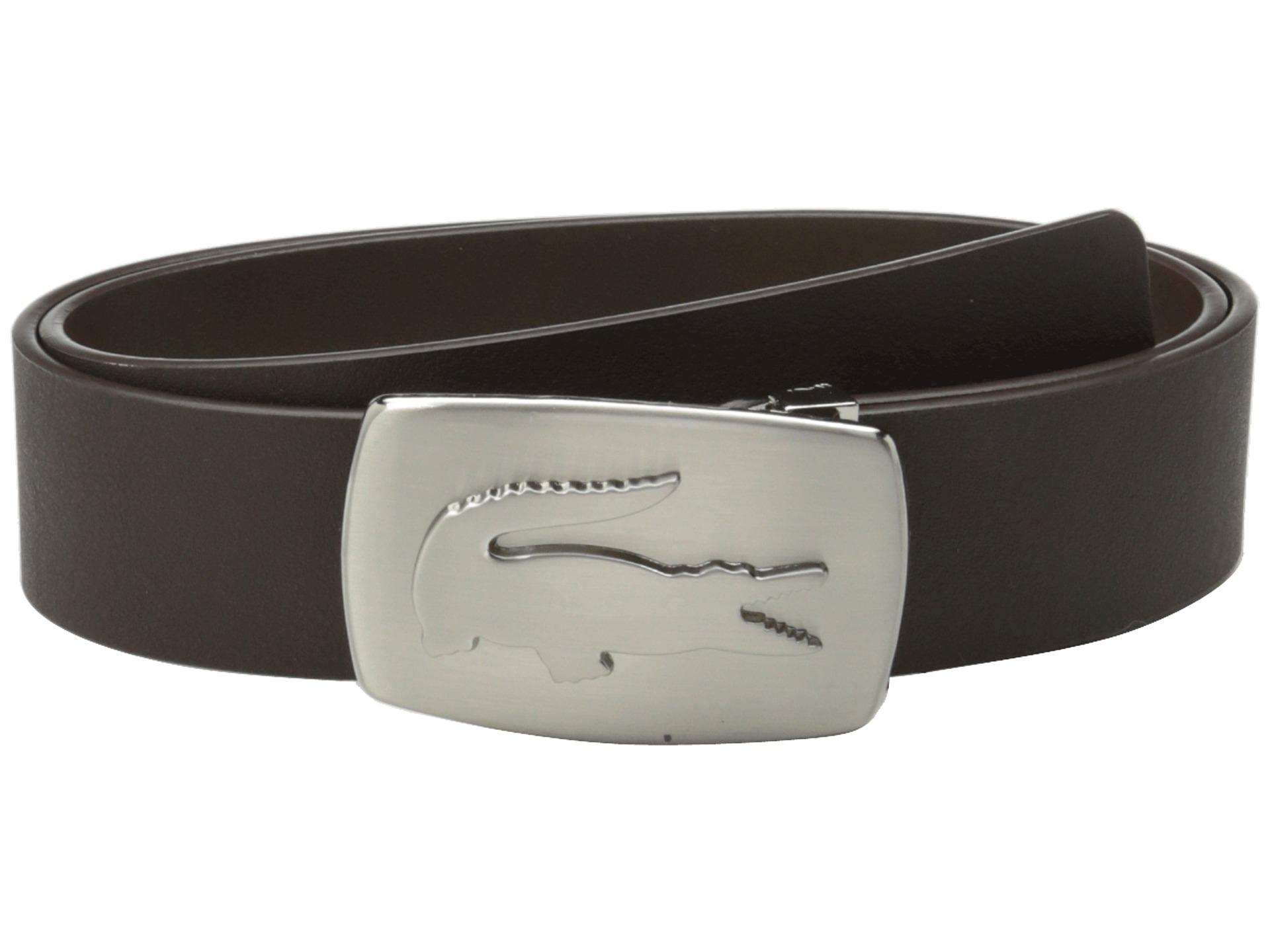 699fa1eb5 Lyst - Lacoste Spw Leather Belt Metal Croc Buckle Plate in Brown for Men