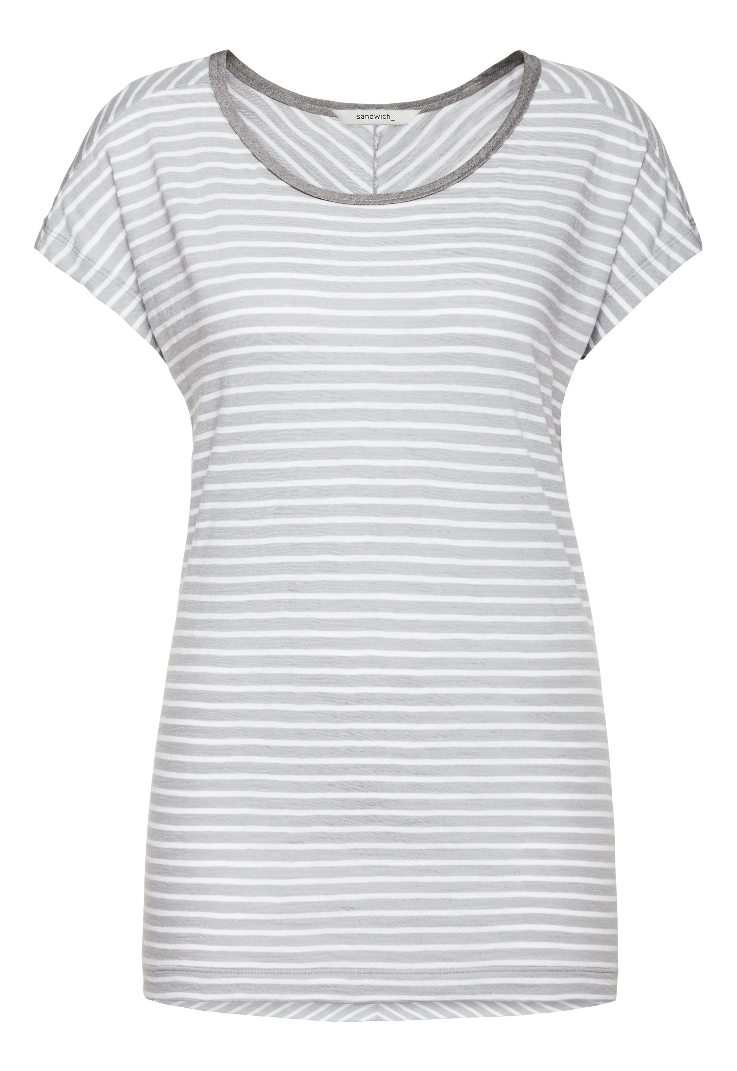 Sandwich striped t shirt in gray lyst for Grey striped t shirt