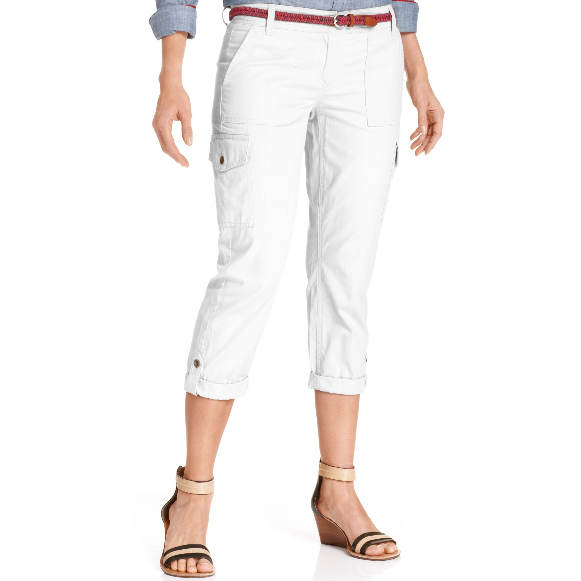 b8c98032e Tommy Hilfiger Cropped Cargo Pants in White - Lyst