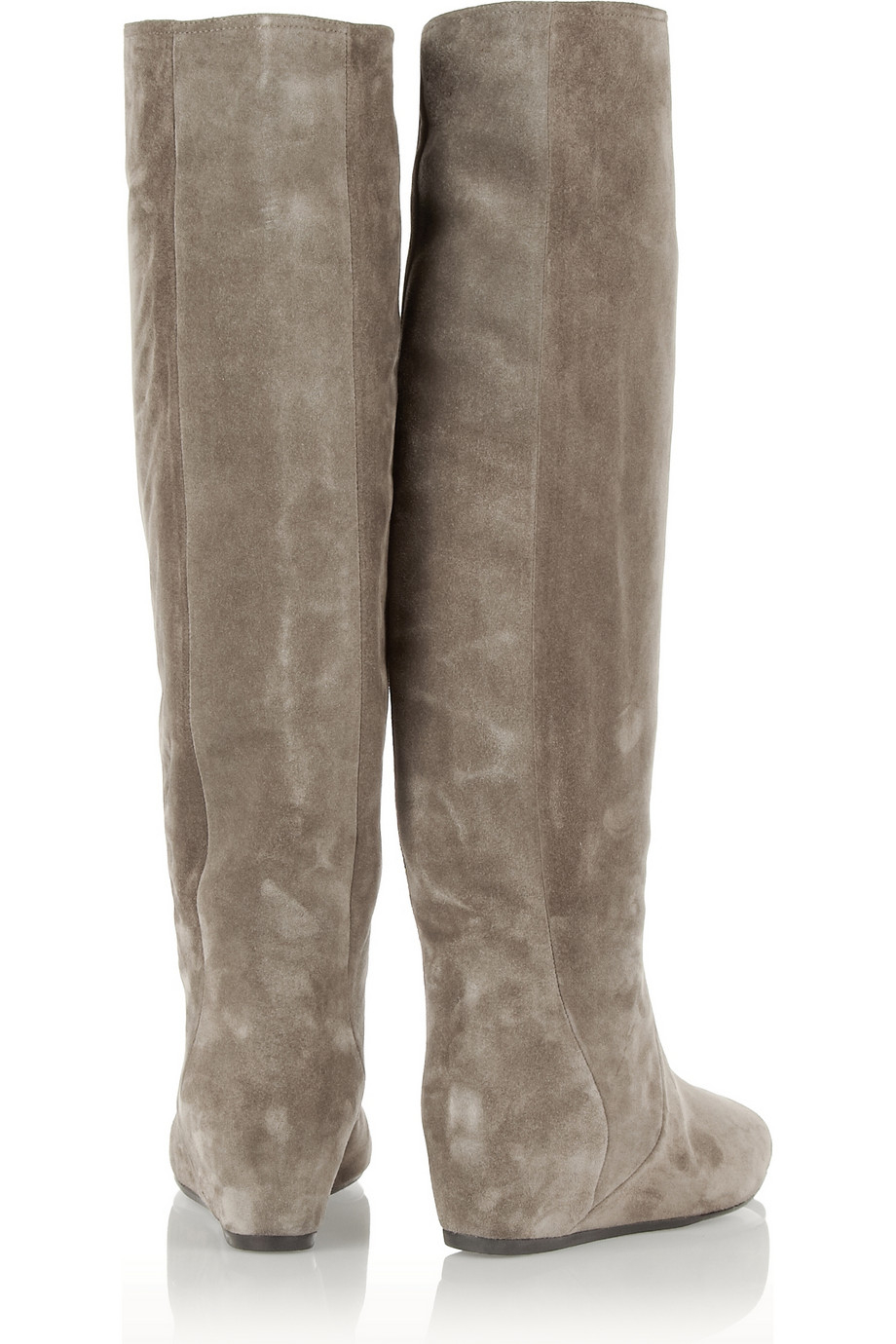 34449e78de14 Lyst - Lanvin Suede Wedge Knee Boots in Gray