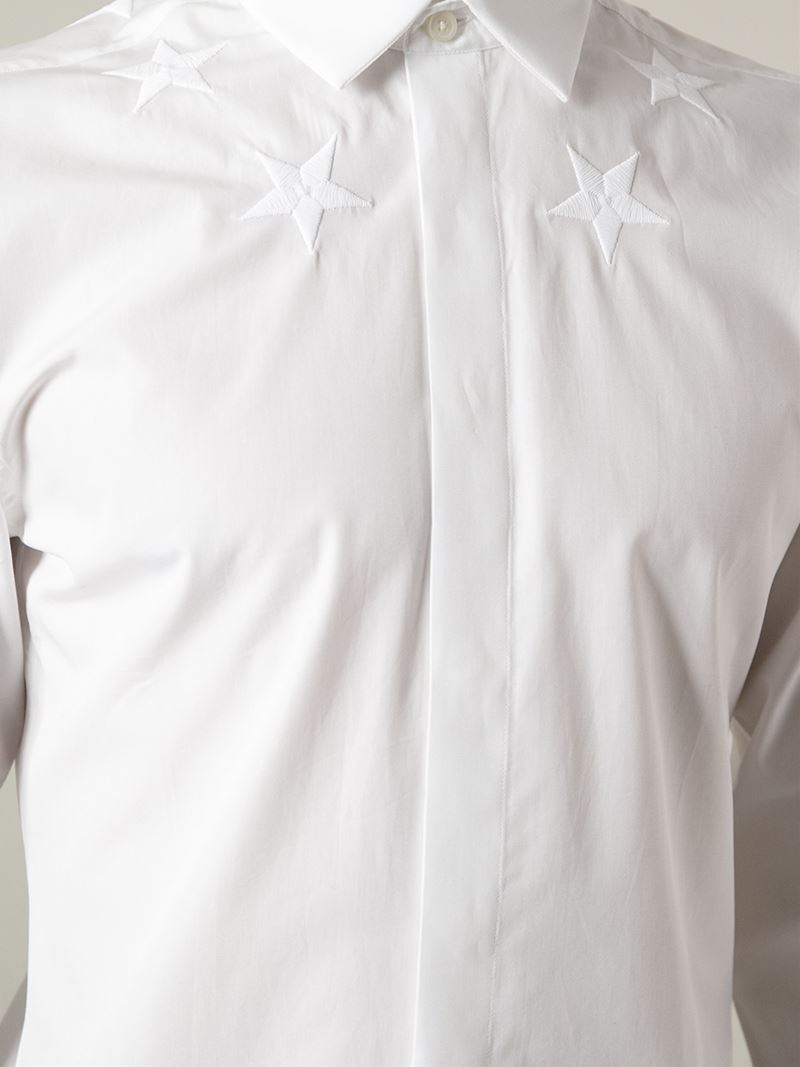 c80607e3add Lyst - Givenchy Embroidered Star Shirt in White for Men