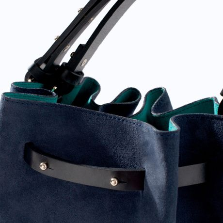Zara Coloured Leather and Suede Bucket Bag in Blue (Navy blue) - Lyst