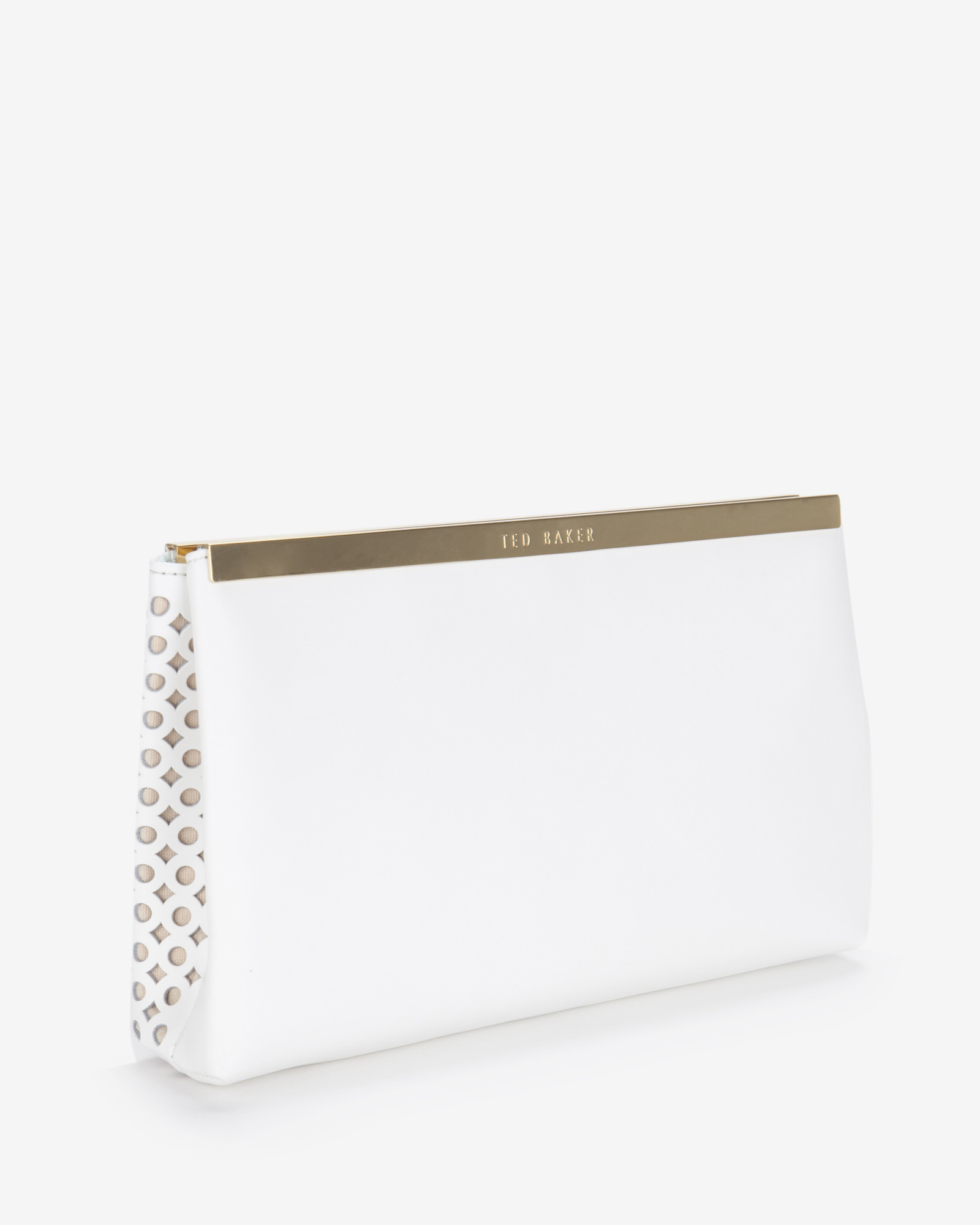 29be17698 Ted Baker Kala Cut Out Leather Clutch Bag in White - Lyst