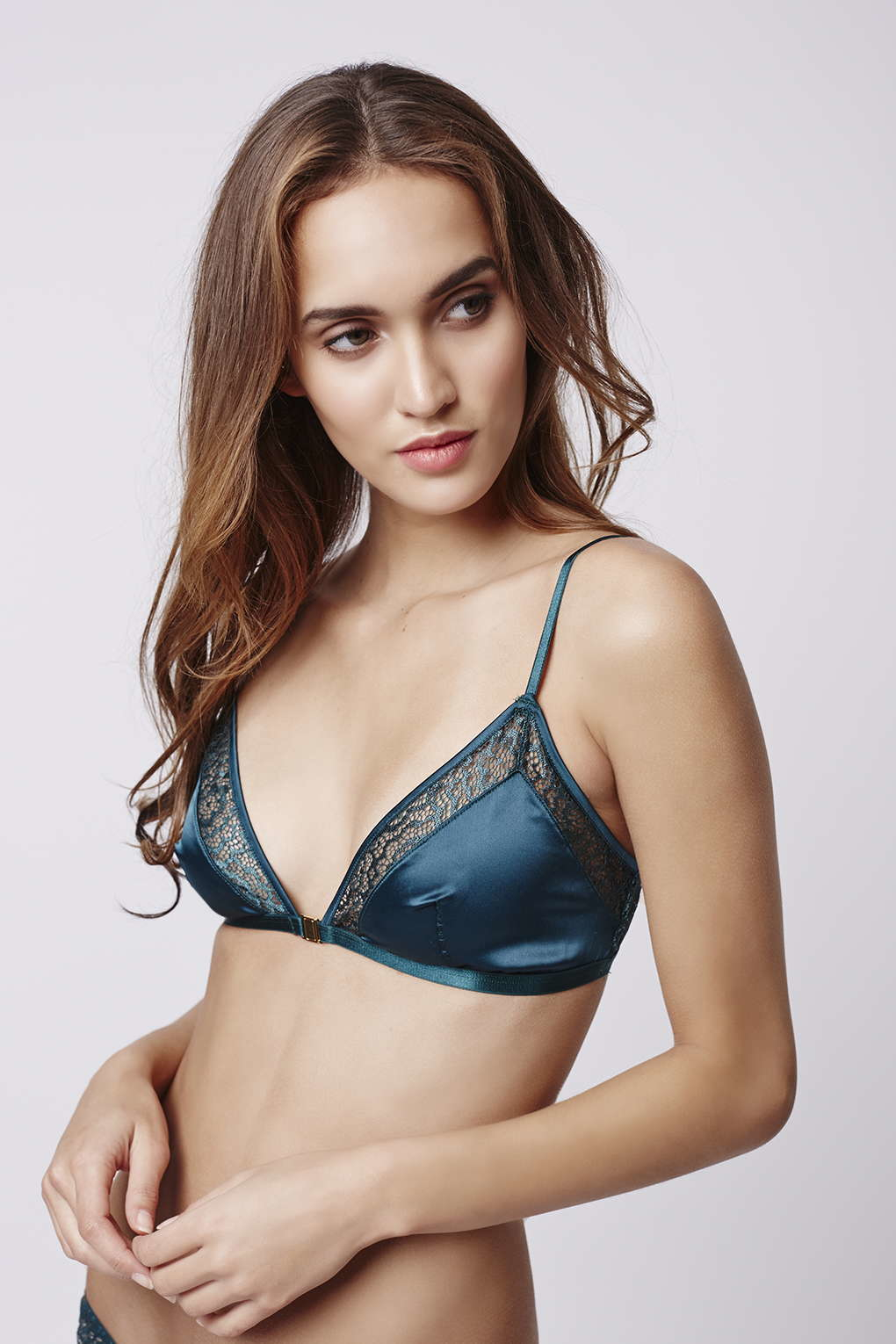 17a8ff3ad4 Lyst - TOPSHOP Satin And Lace Triangle Bra in Green