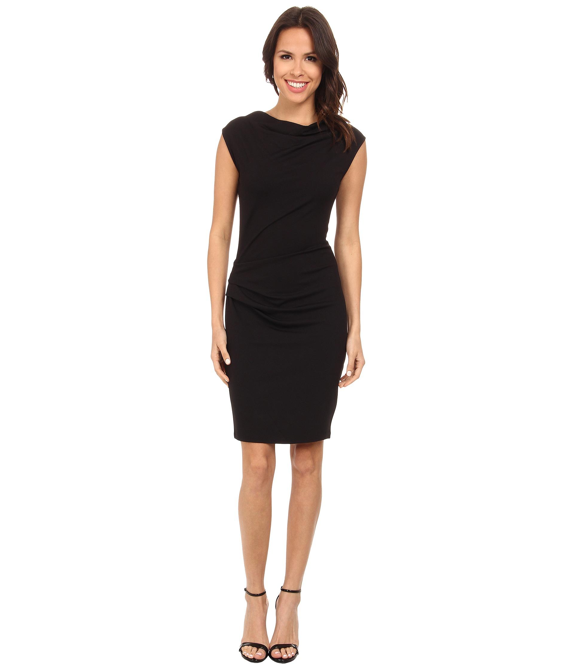Asymmetric Drape Dress: Dkny Asymmetric Draped Dress In Black