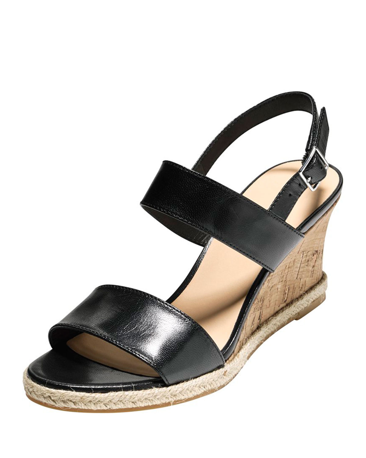 Lyst Cole Haan Lane Leather Wedge Sandal In Black