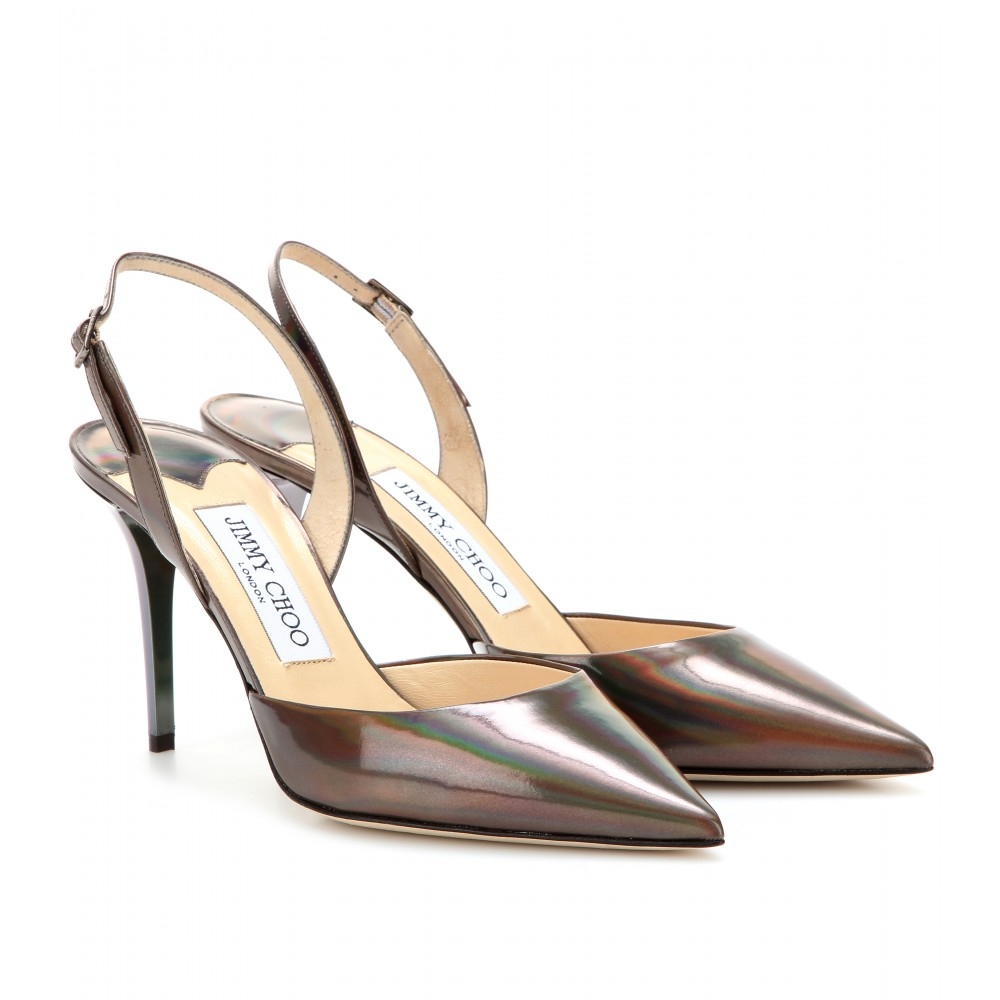 Jimmy Choo Tilly Leather Slingback Pumps in Gold (multi) | Lyst