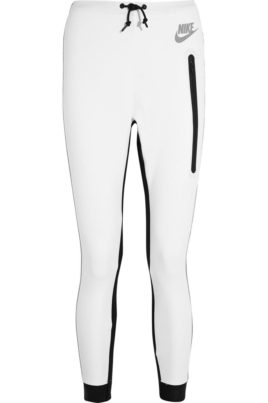 Nike Tech Fleece Cotton-Blend Jersey Track Pants in White - Lyst 67f6a7873