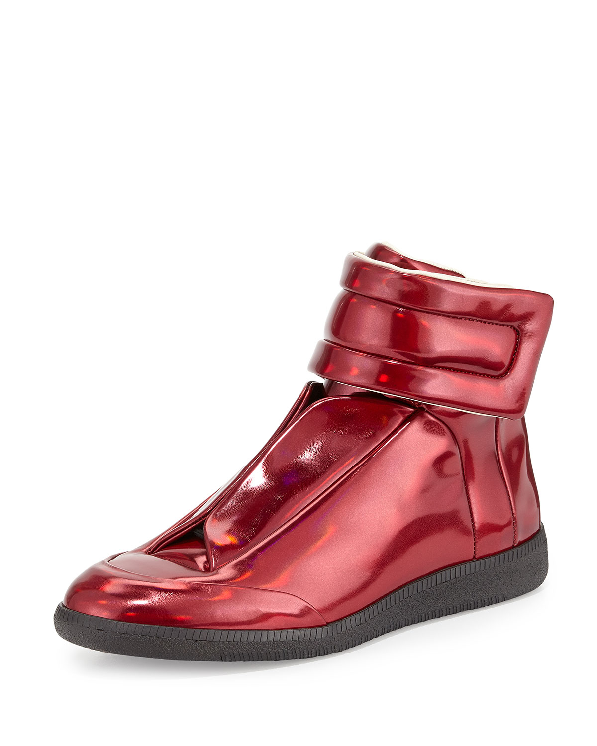 maison margiela future leather high top sneakers in red for men lyst. Black Bedroom Furniture Sets. Home Design Ideas