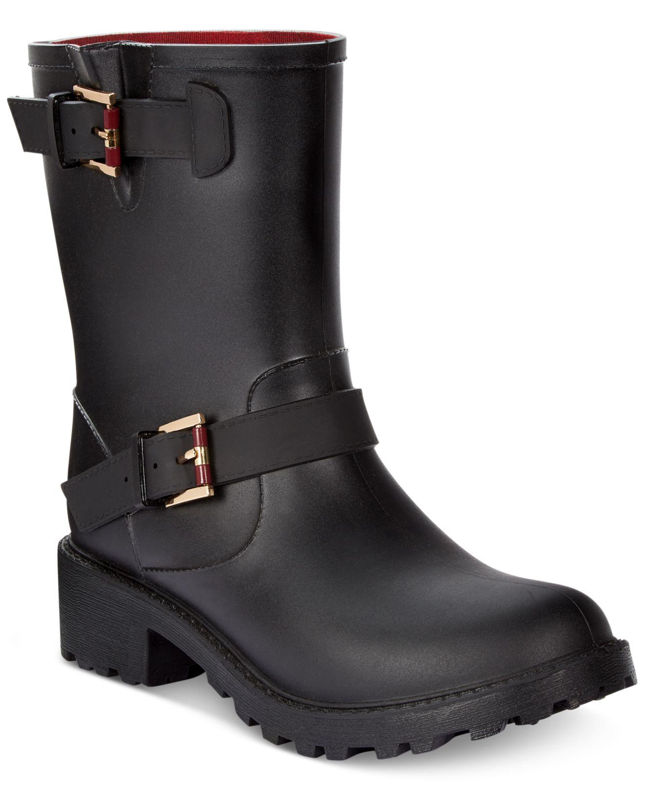 tommy hilfiger dew moto rain boots in black lyst. Black Bedroom Furniture Sets. Home Design Ideas