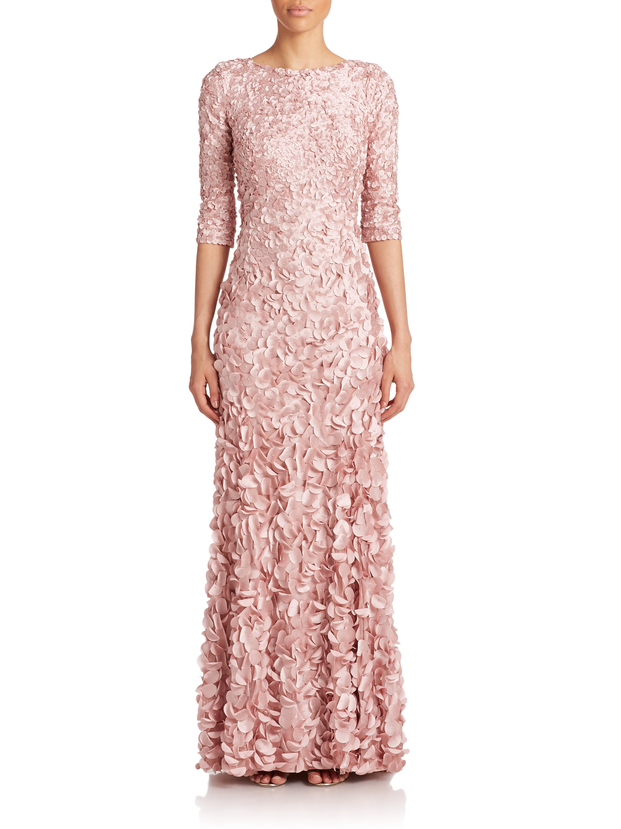 Lyst - Theia Beaded Petal Gown in Pink