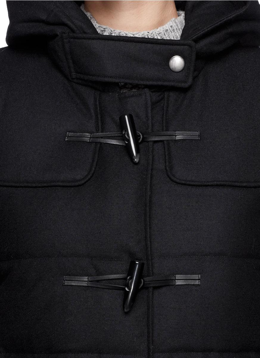 Theory 'emmittine' Wool Blend Down Duffle Coat in Black | Lyst