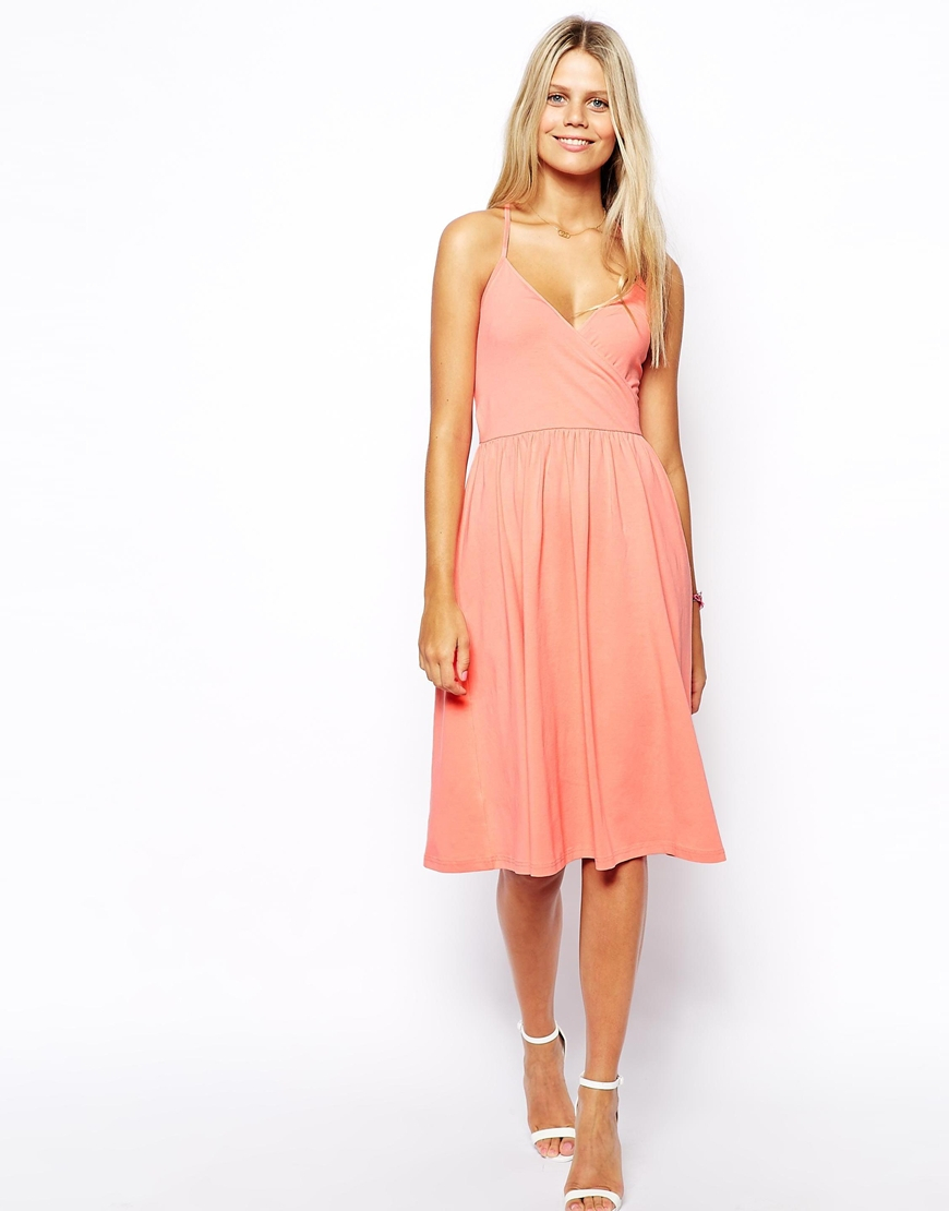 Asos Midi Sundress With Strappy Back And Wrap Front in ...