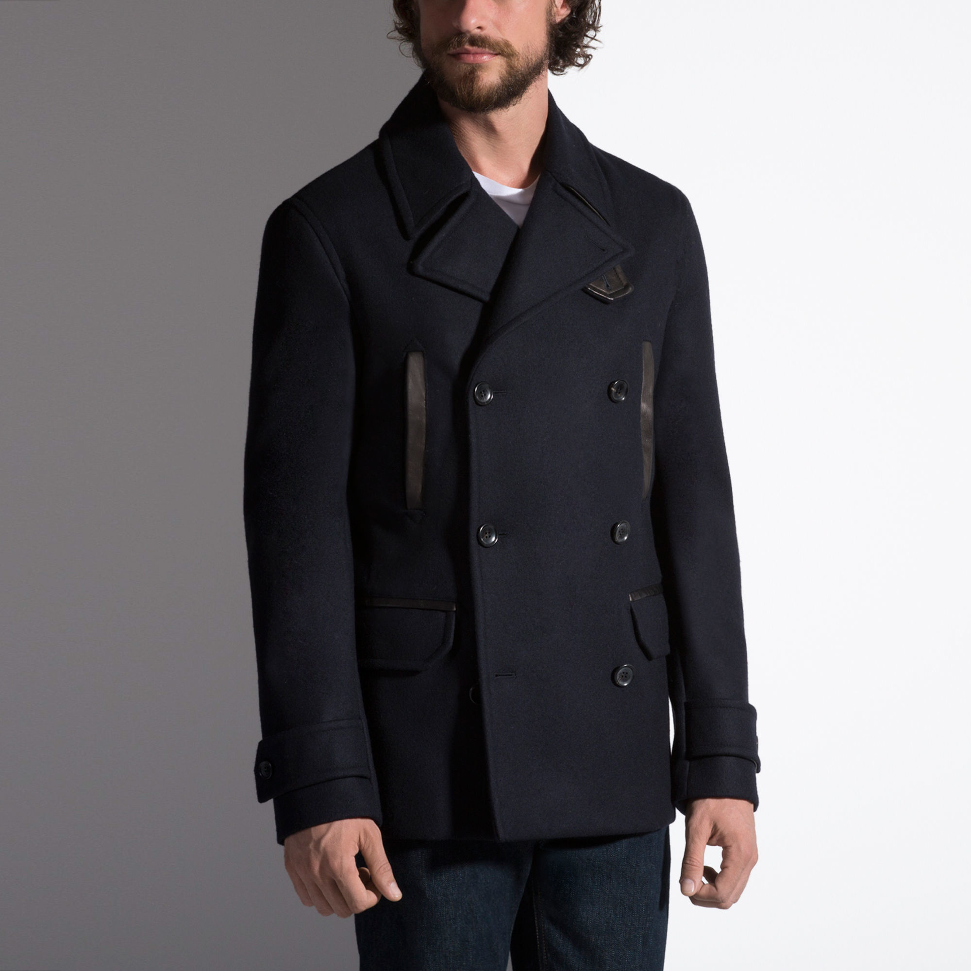 Bally Leather-trim Pea Coat in Blue for Men | Lyst