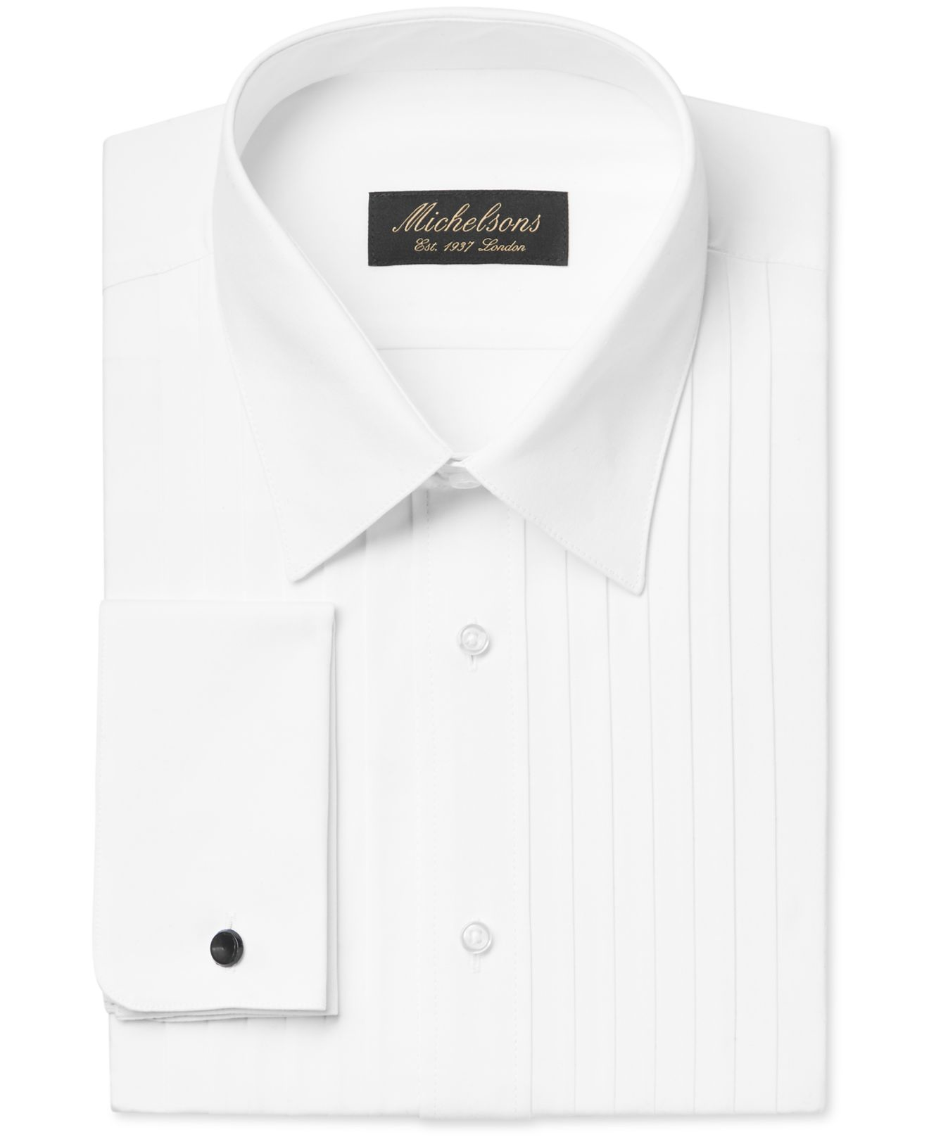 Michelsons of london classic fit pleated wing french cuff for Tuxedo shirt french cuff