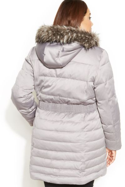 Dkny Plus Size Faux Fur Hooded Belted Down Coat In Silver