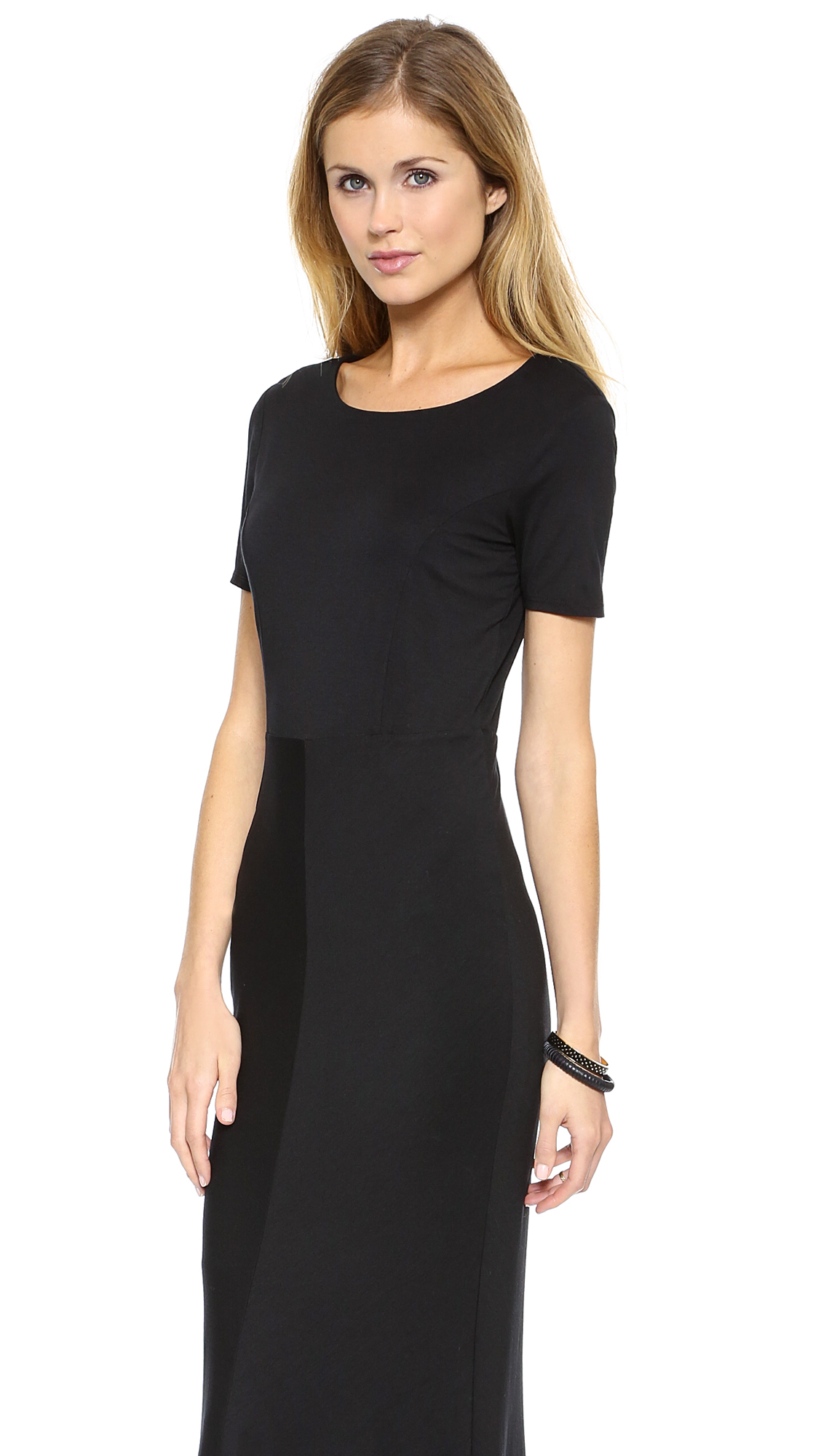 Three dots Short Sleeve Maxi Dress - Black in Black | Lyst