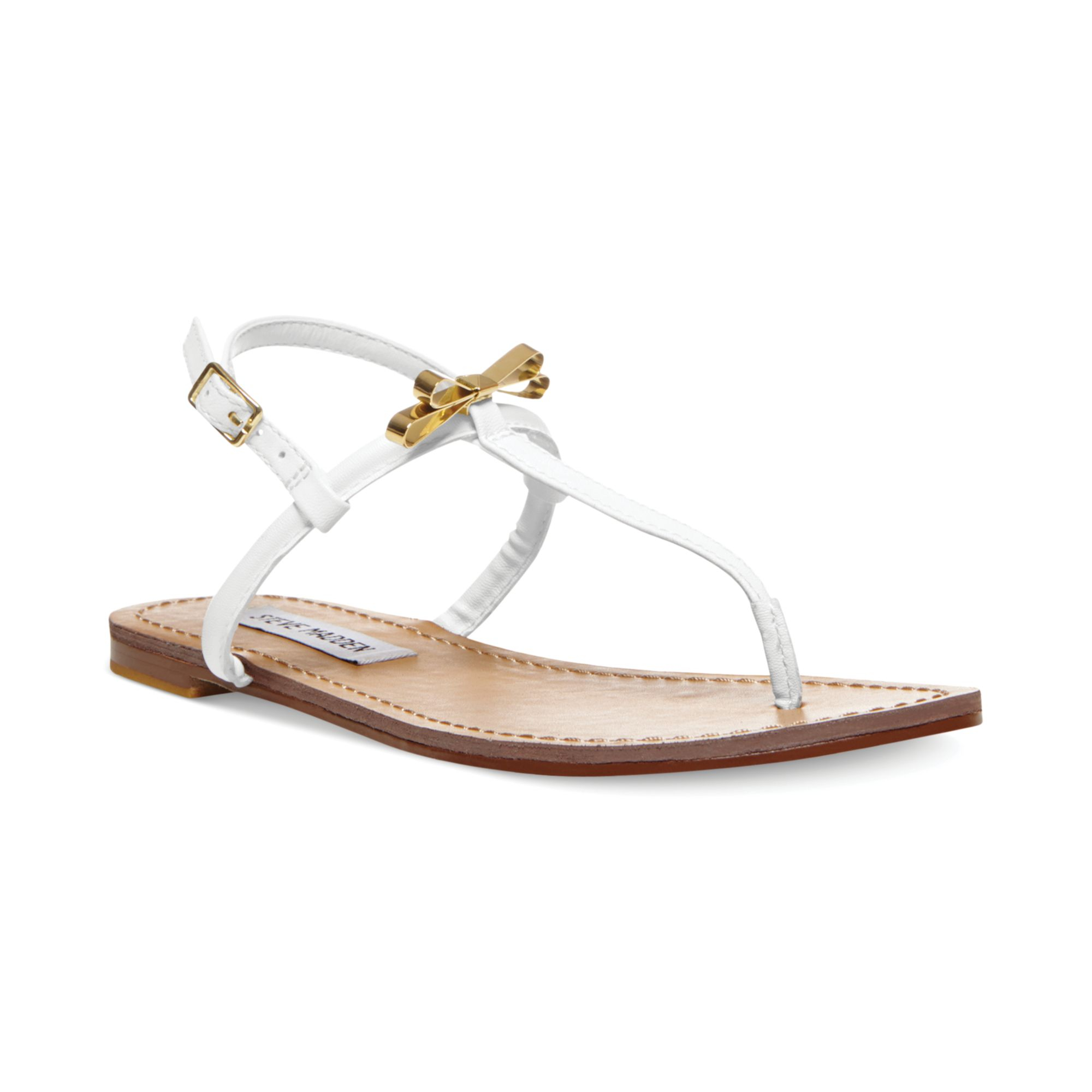 747c3a83bc0af Lyst - Steve Madden Womens Daisey Flat Thong Sandals in White